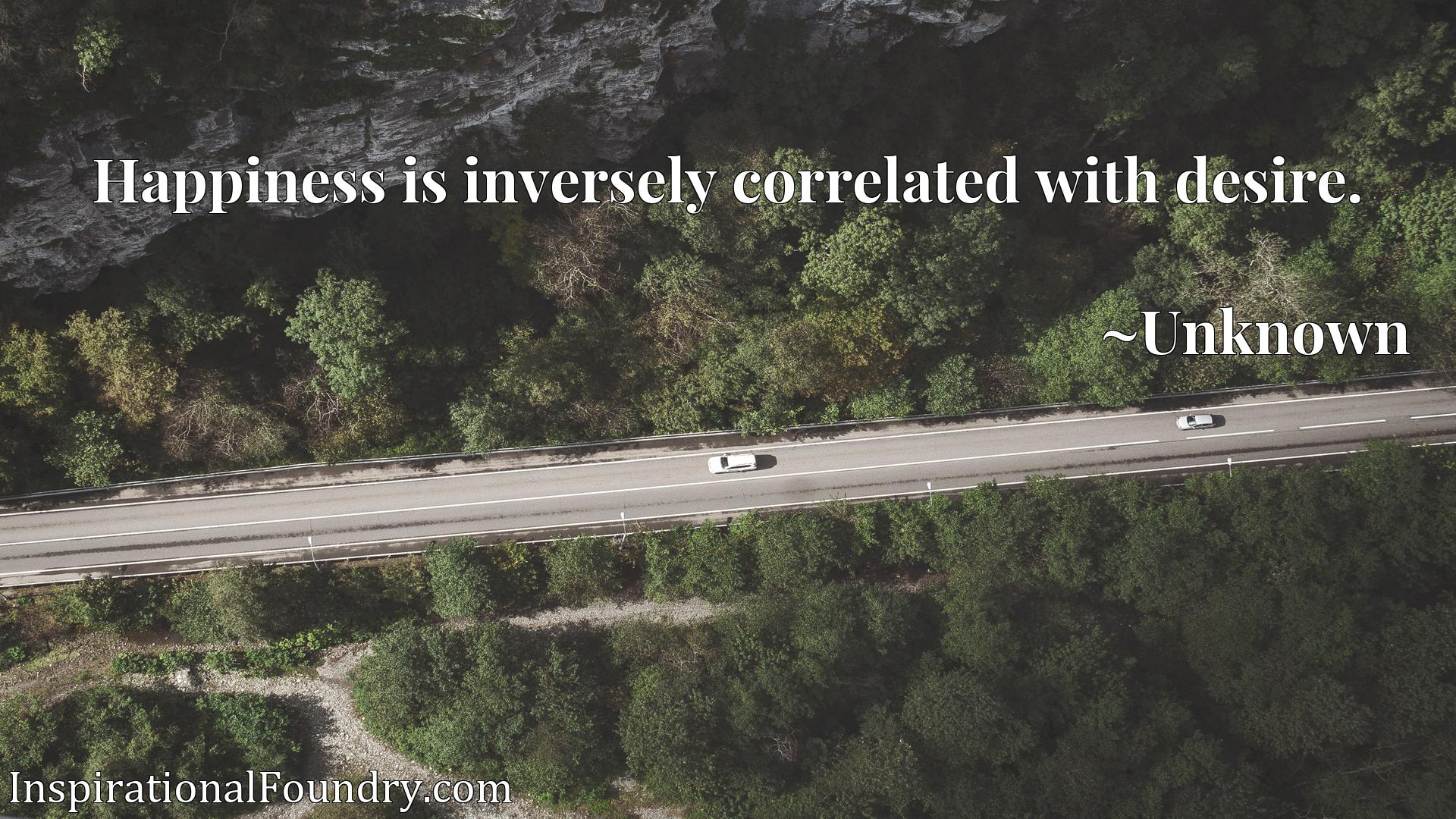 Quote Picture :Happiness is inversely correlated with desire.