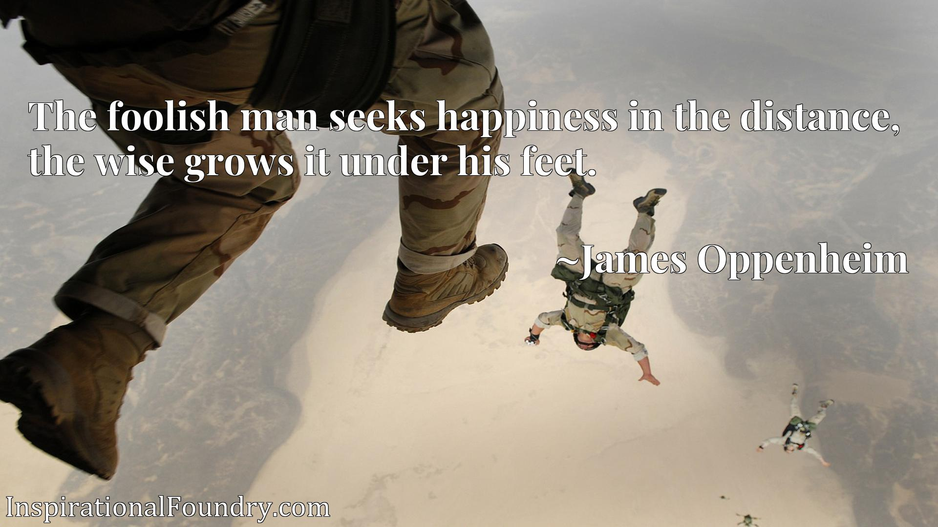 Quote Picture :The foolish man seeks happiness in the distance, the wise grows it under his feet.