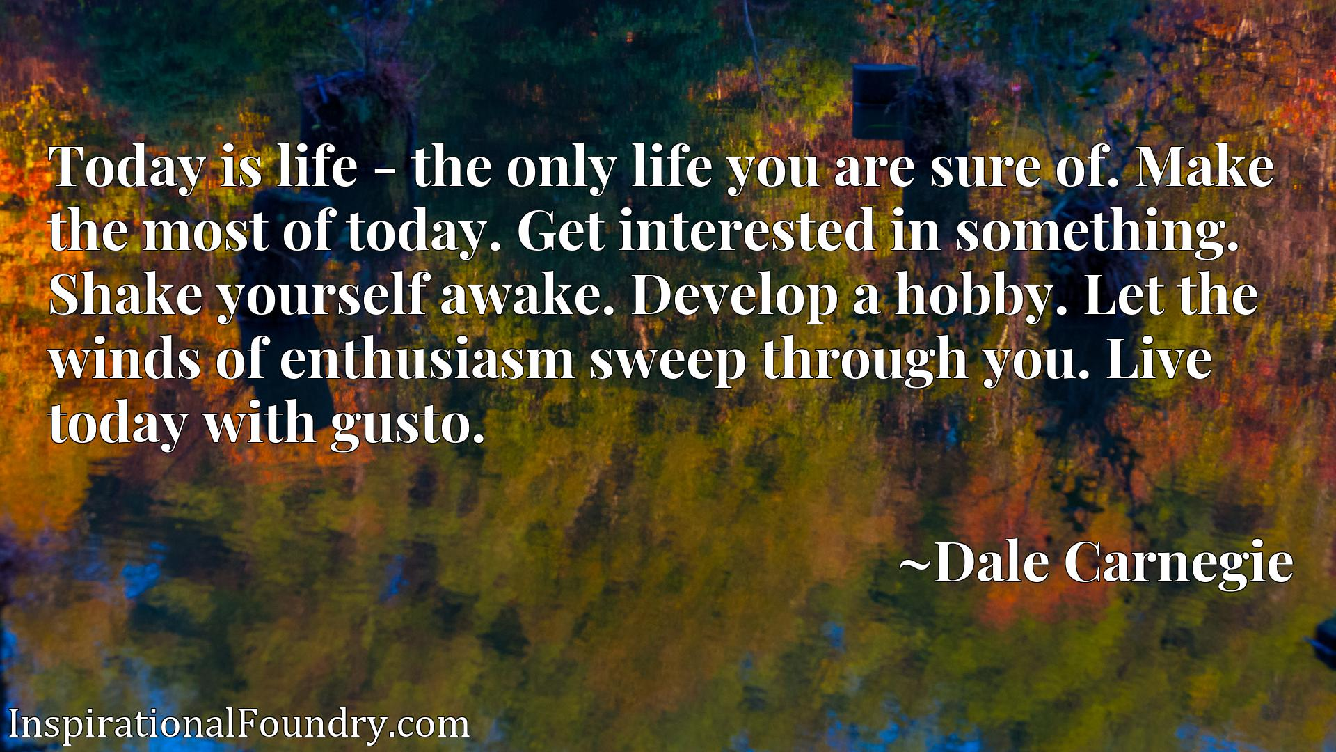 Quote Picture :Today is life - the only life you are sure of. Make the most of today. Get interested in something. Shake yourself awake. Develop a hobby. Let the winds of enthusiasm sweep through you. Live today with gusto.