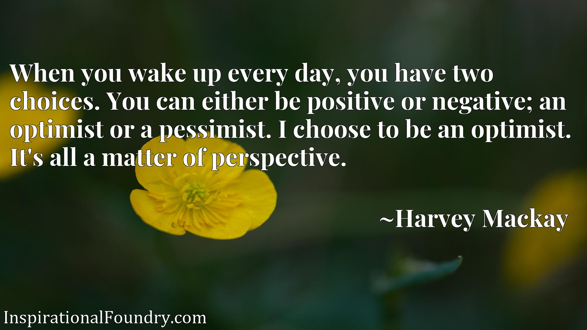 Quote Picture :When you wake up every day, you have two choices. You can either be positive or negative; an optimist or a pessimist. I choose to be an optimist. It's all a matter of perspective.