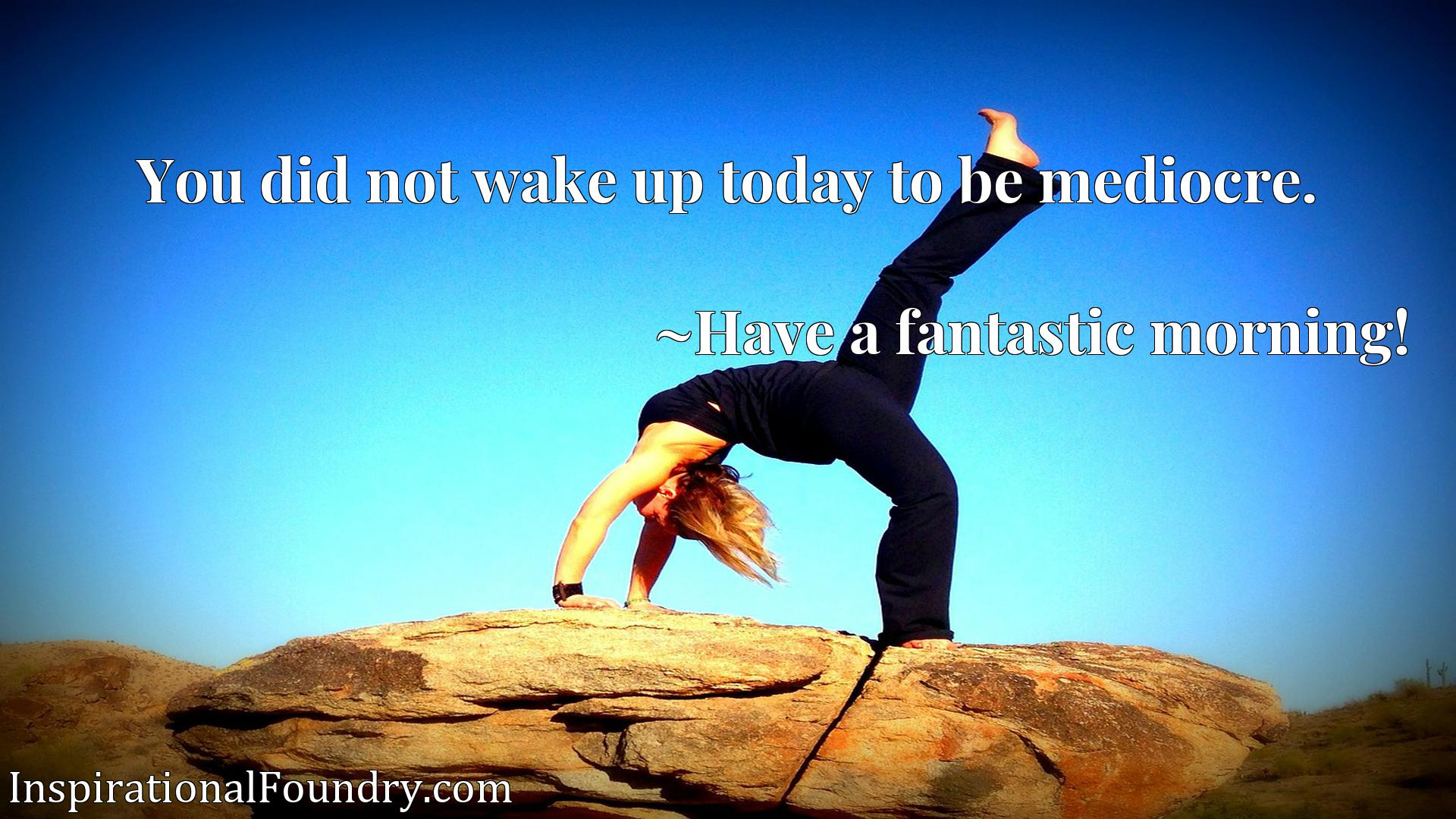 Quote Picture :You did not wake up today to be mediocre.