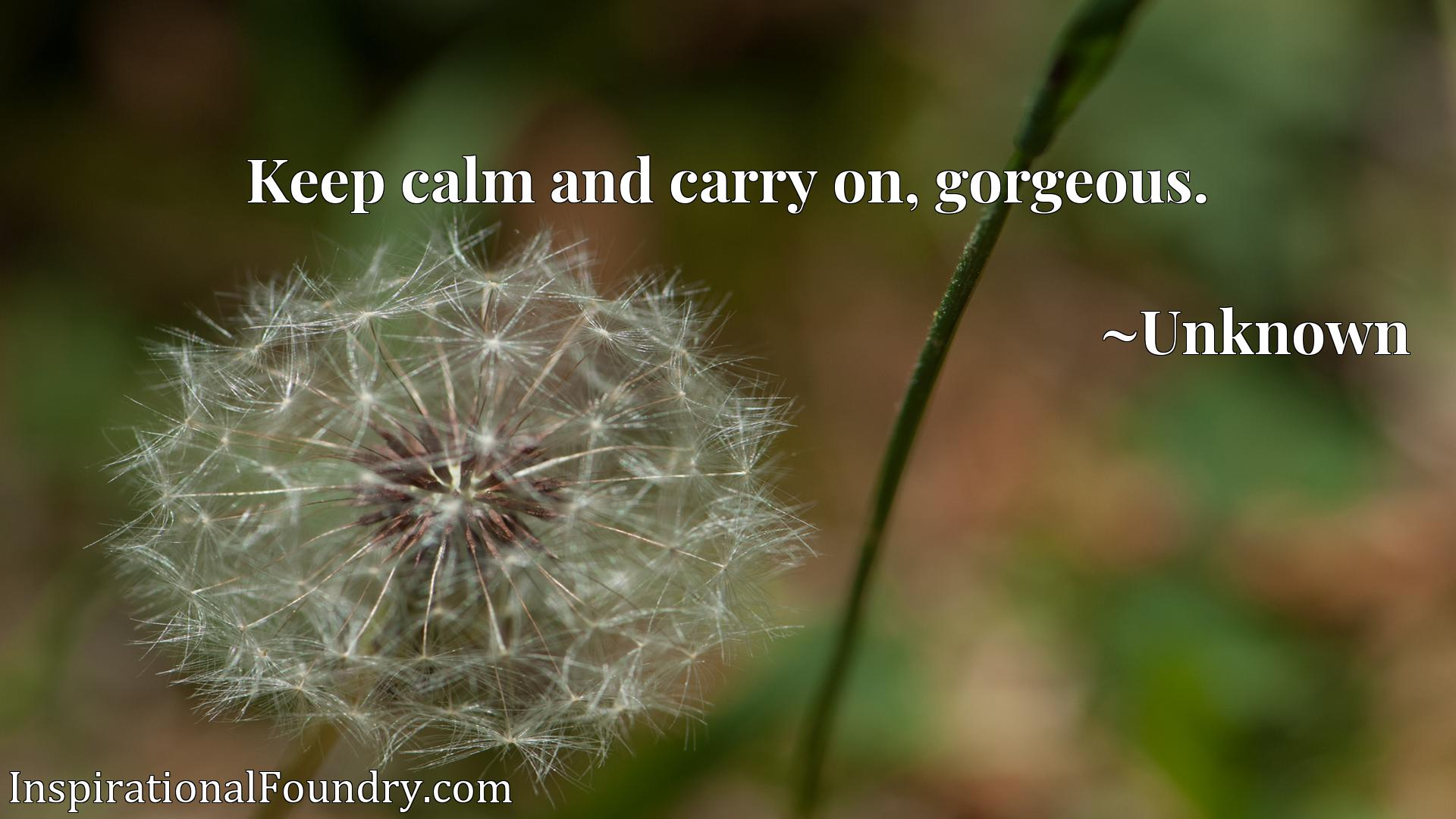 Quote Picture :Keep calm and carry on, gorgeous.