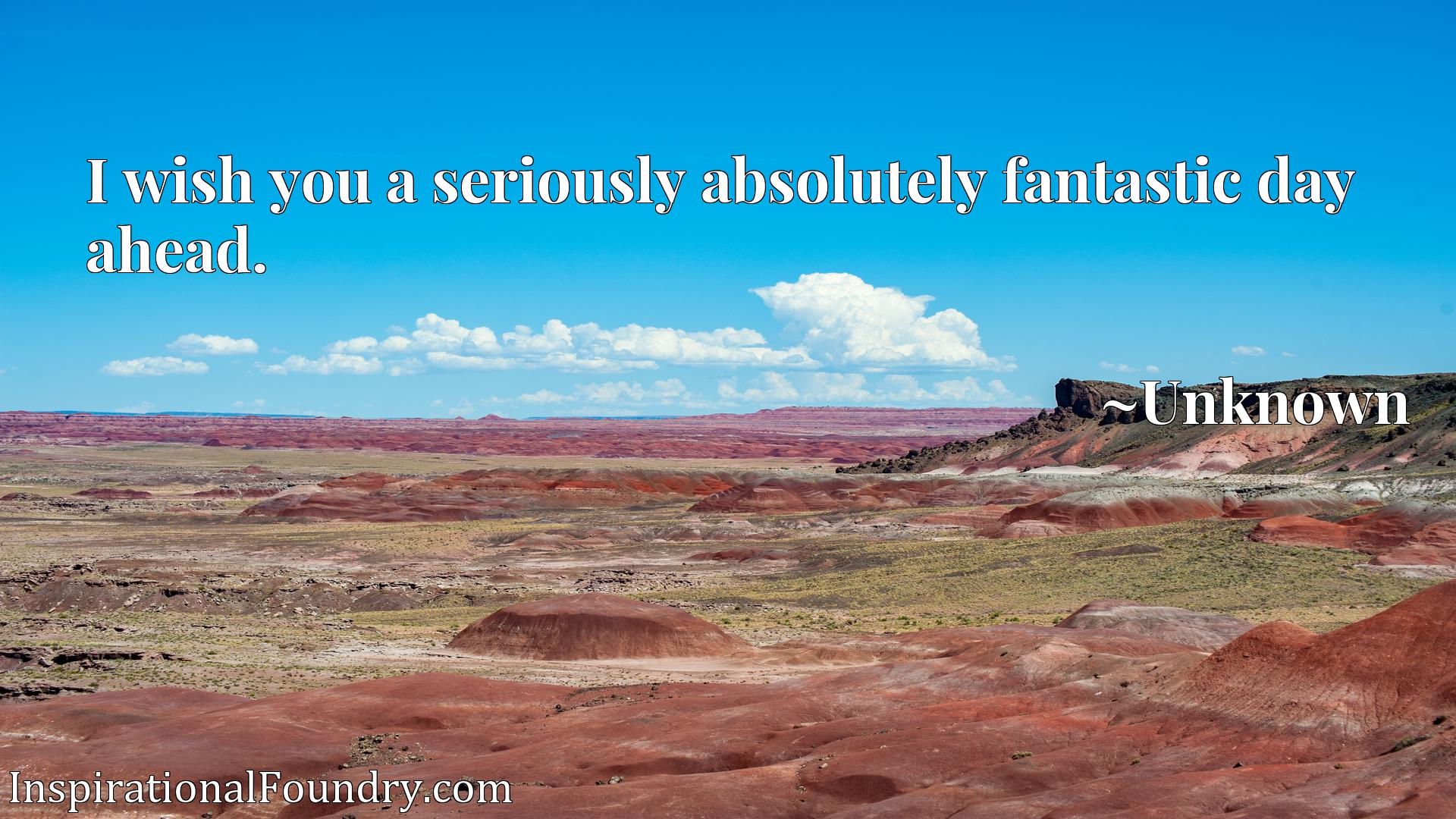 Quote Picture :I wish you a seriously absolutely fantastic day ahead.