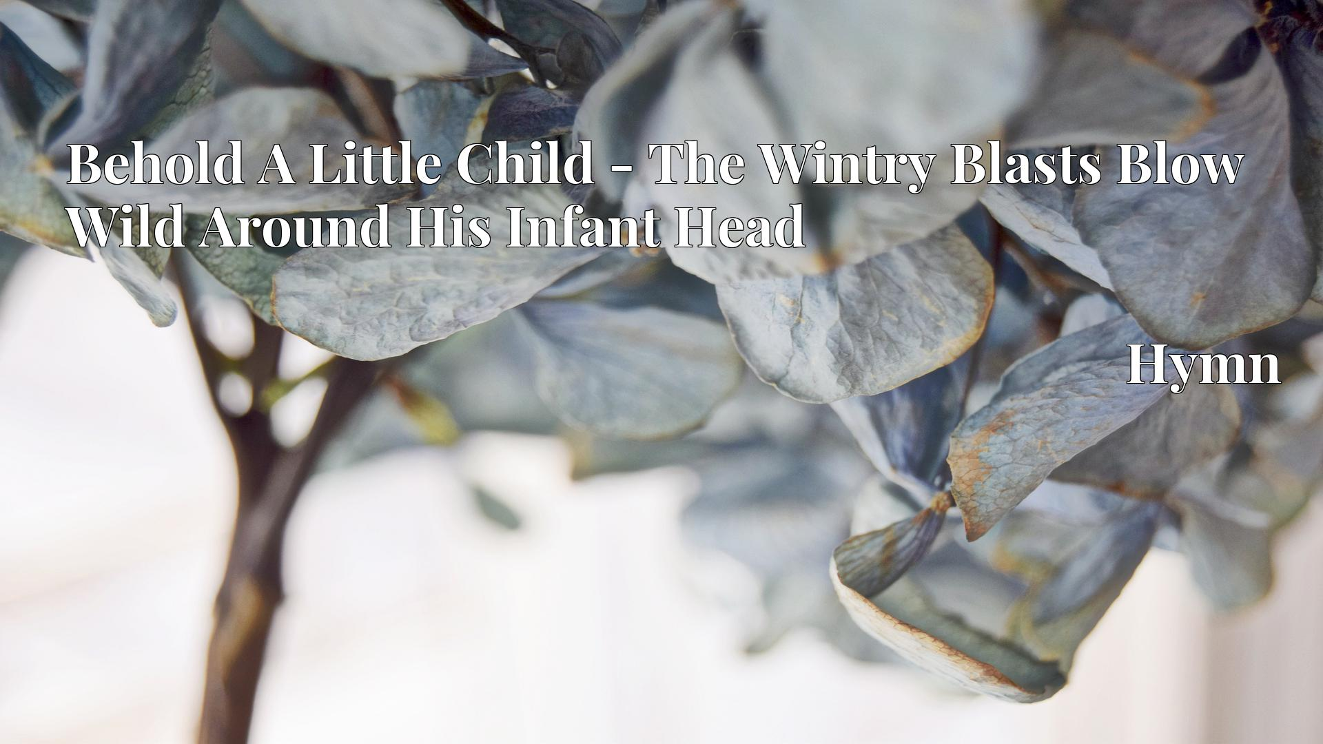 Behold A Little Child - The Wintry Blasts Blow Wild Around His Infant Head - Hymn