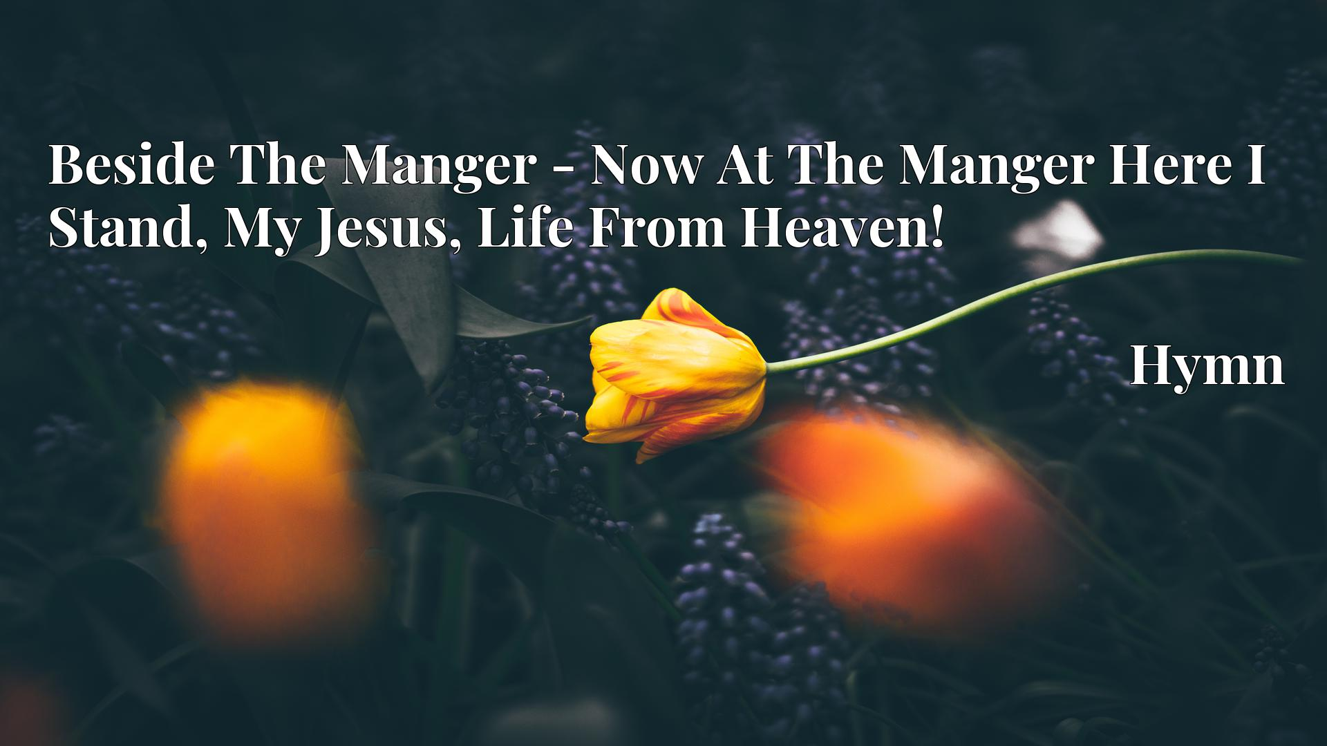 Beside The Manger - Now At The Manger Here I Stand, My Jesus, Life From Heaven! - Hymn