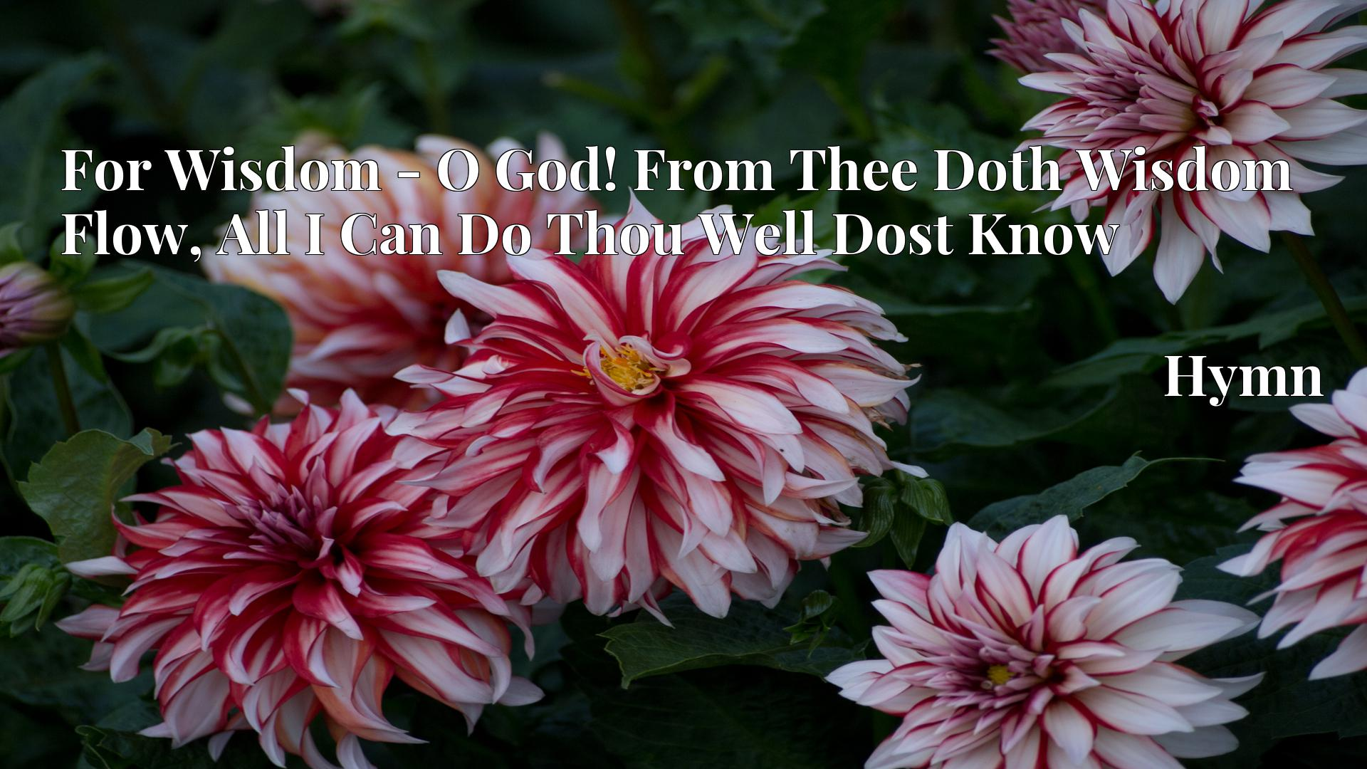 For Wisdom - O God! From Thee Doth Wisdom Flow, All I Can Do Thou Well Dost Know - Hymn