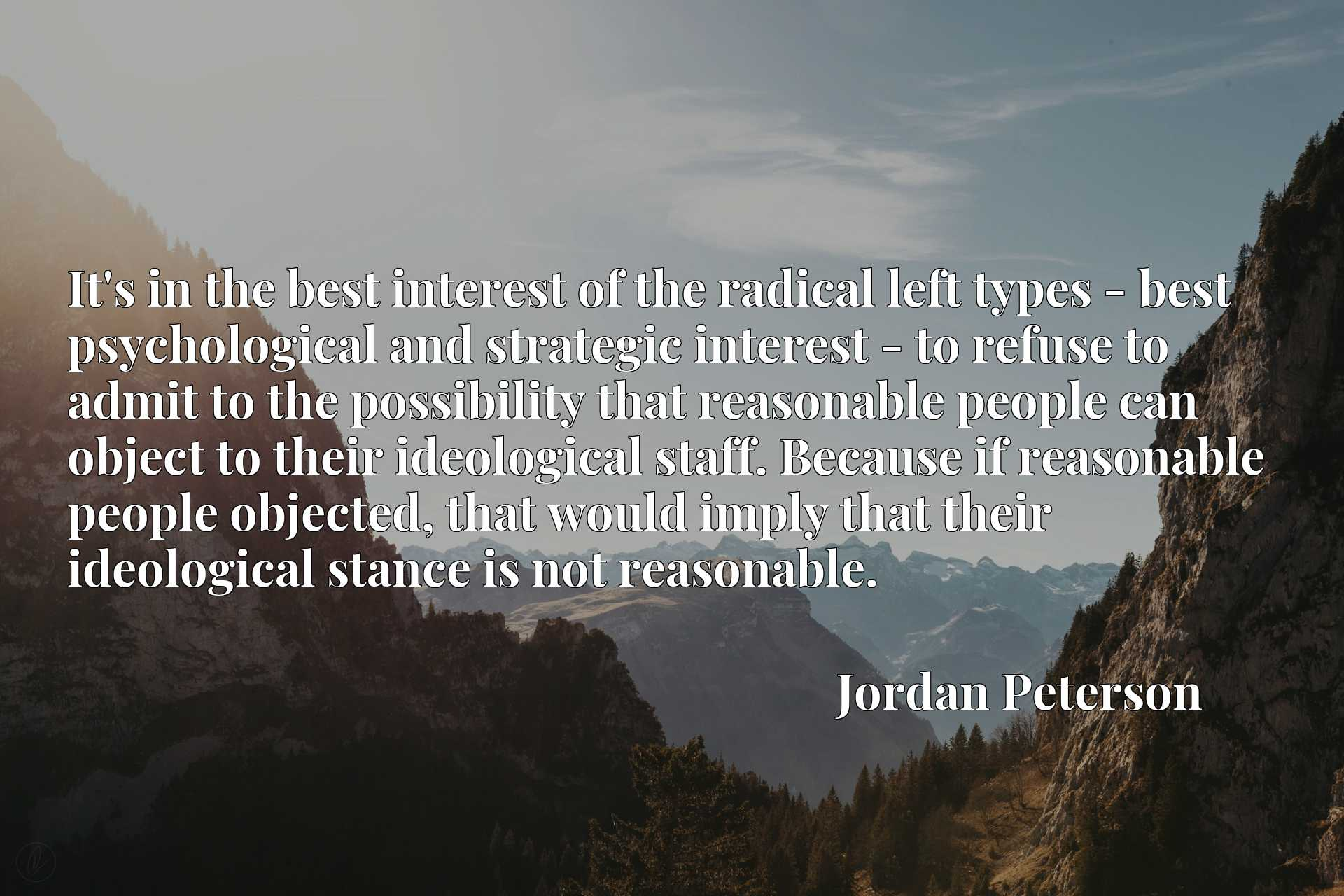 It's in the best interest of the radical left types - best psychological and strategic interest - to refuse to admit to the possibility that reasonable people can object to their ideological staff. Because if reasonable people objected, that would imply that their ideological stance is not reasonable.