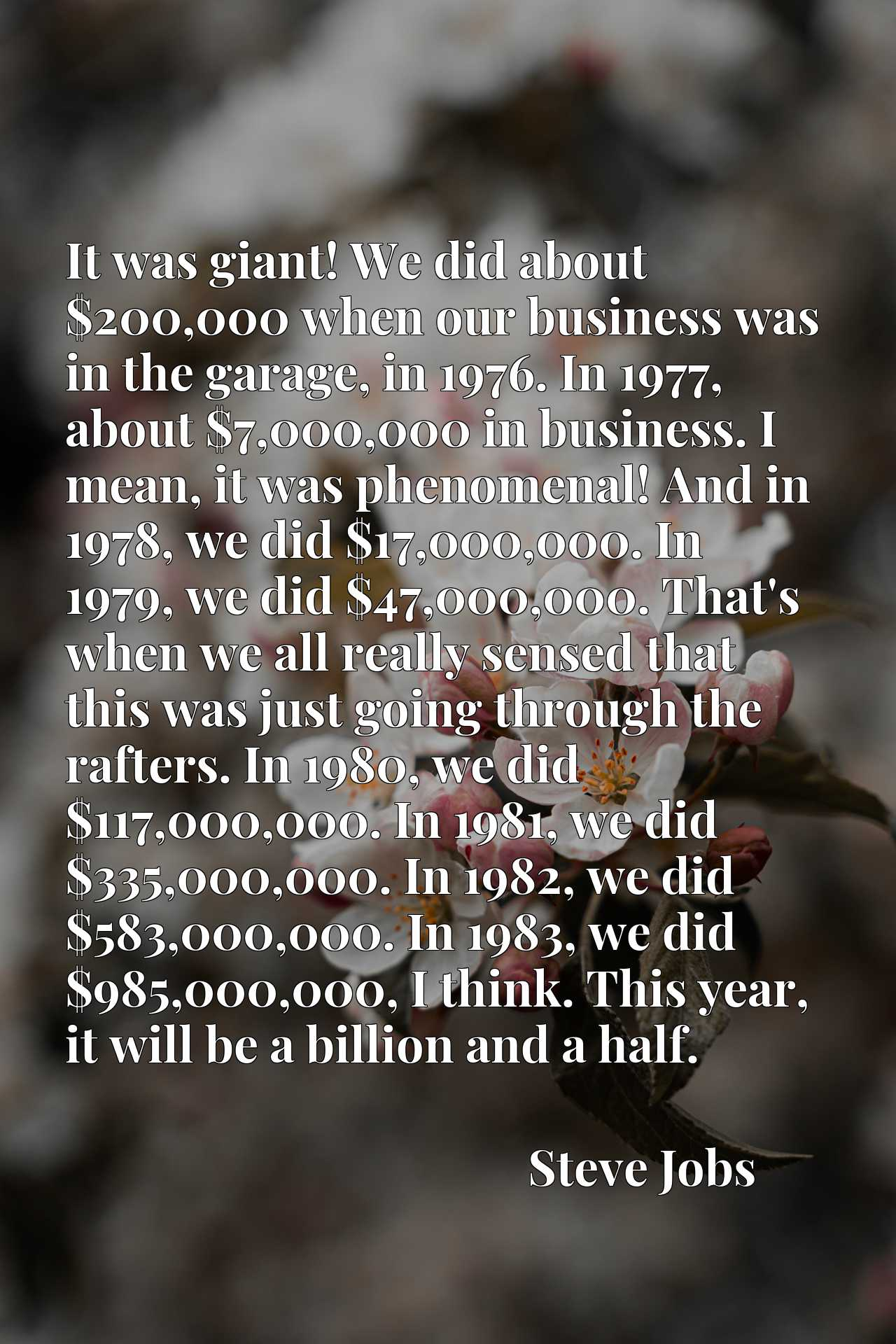 It was giant! We did about $200,000 when our business was in the garage, in 1976. In 1977, about $7,000,000 in business. I mean, it was phenomenal! And in 1978, we did $17,000,000. In 1979, we did $47,000,000. That's when we all really sensed that this was just going through the rafters. In 1980, we did $117,000,000. In 1981, we did $335,000,000. In 1982, we did $583,000,000. In 1983, we did $985,000,000, I think. This year, it will be a billion and a half.
