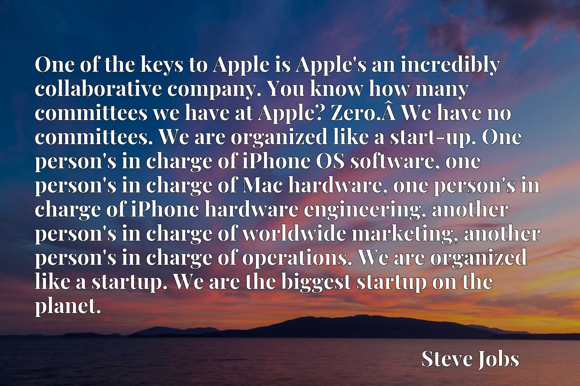 One of the keys to Apple is Apple's an incredibly collaborative company. You know how many committees we have at Apple? Zero.Axa0We have no committees. We are organized like a start-up. One person's in charge of iPhone OS software, one person's in charge of Mac hardware, one person's in charge of iPhone hardware engineering, another person's in charge of worldwide marketing, another person's in charge of operations. We are organized like a startup. We are the biggest startup on the planet.