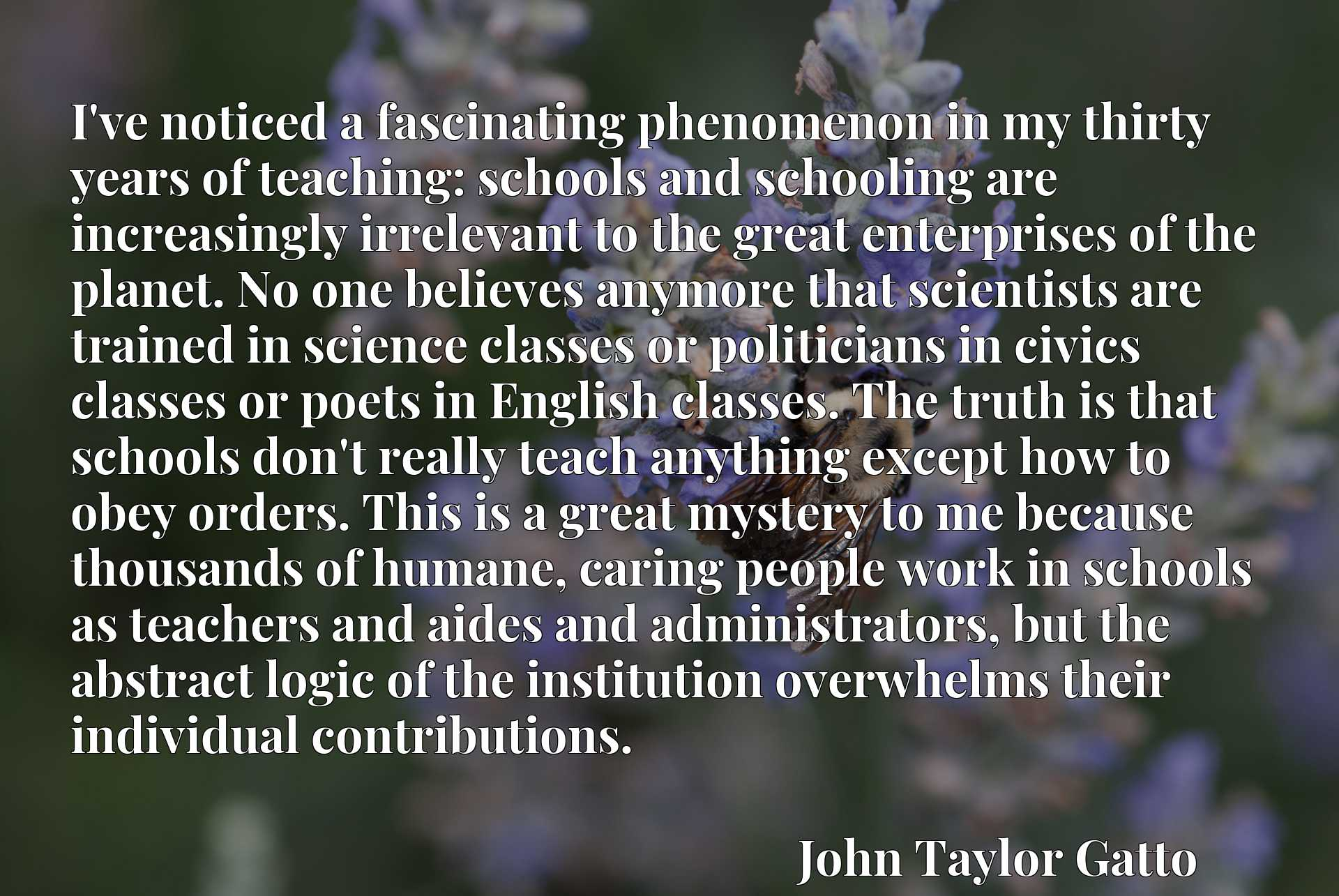 I've noticed a fascinating phenomenon in my thirty years of teaching: schools and schooling are increasingly irrelevant to the great enterprises of the planet. No one believes anymore that scientists are trained in science classes or politicians in civics classes or poets in English classes. The truth is that schools don't really teach anything except how to obey orders. This is a great mystery to me because thousands of humane, caring people work in schools as teachers and aides and administrators, but the abstract logic of the institution overwhelms their individual contributions.