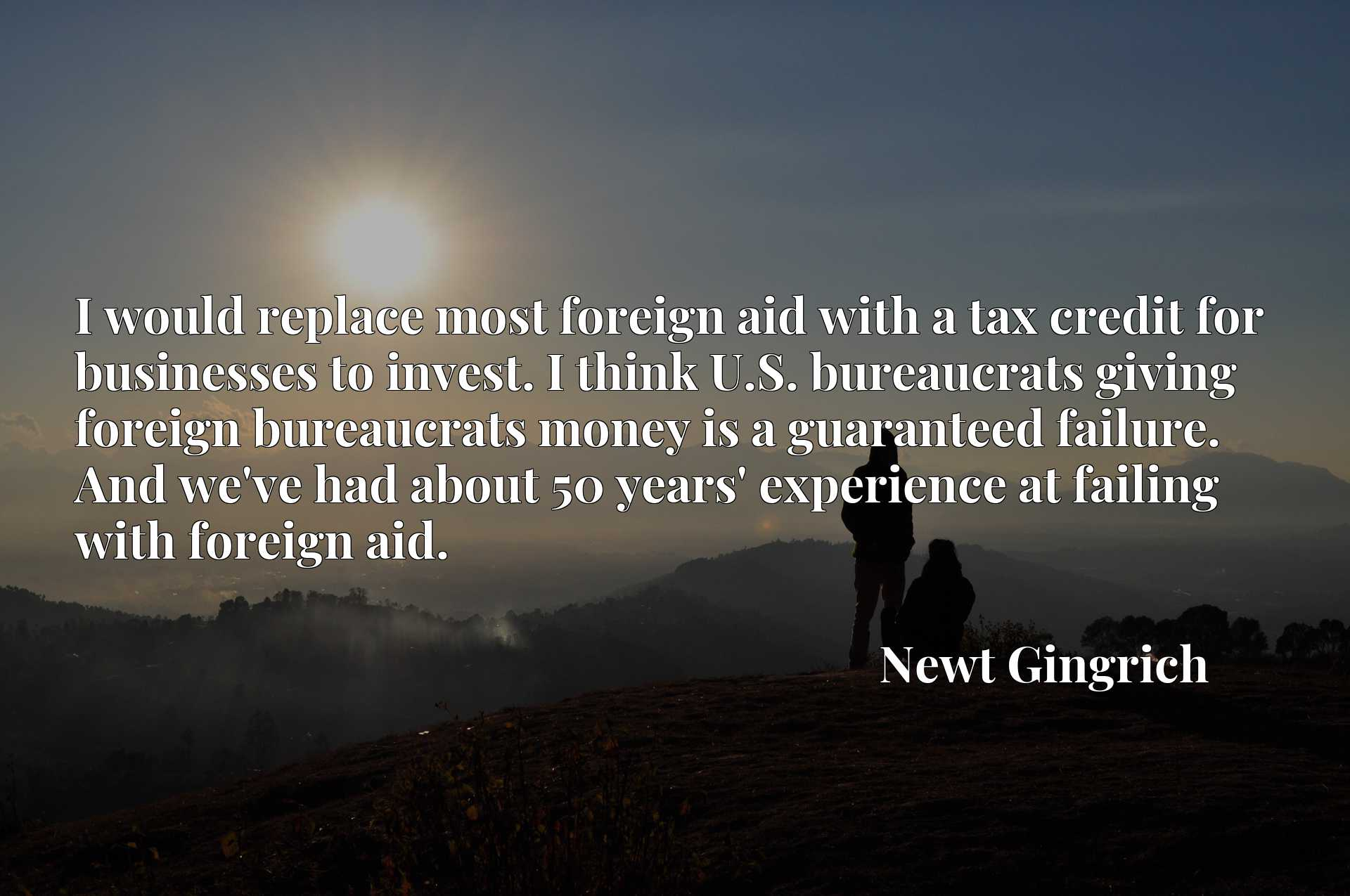 I would replace most foreign aid with a tax credit for businesses to invest. I think U.S. bureaucrats giving foreign bureaucrats money is a guaranteed failure. And we've had about 50 years' experience at failing with foreign aid.