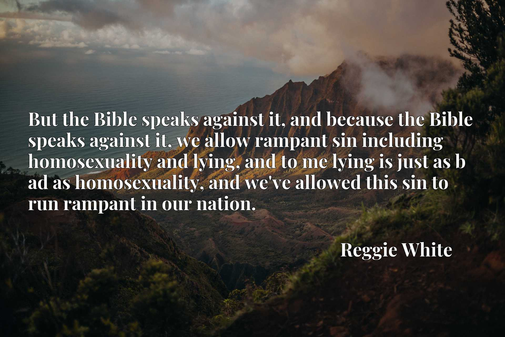 But the Bible speaks against it, and because the Bible speaks against it, we allow rampant sin including homosexuality and lying, and to me lying is just as b ad as homosexuality, and we've allowed this sin to run rampant in our nation.