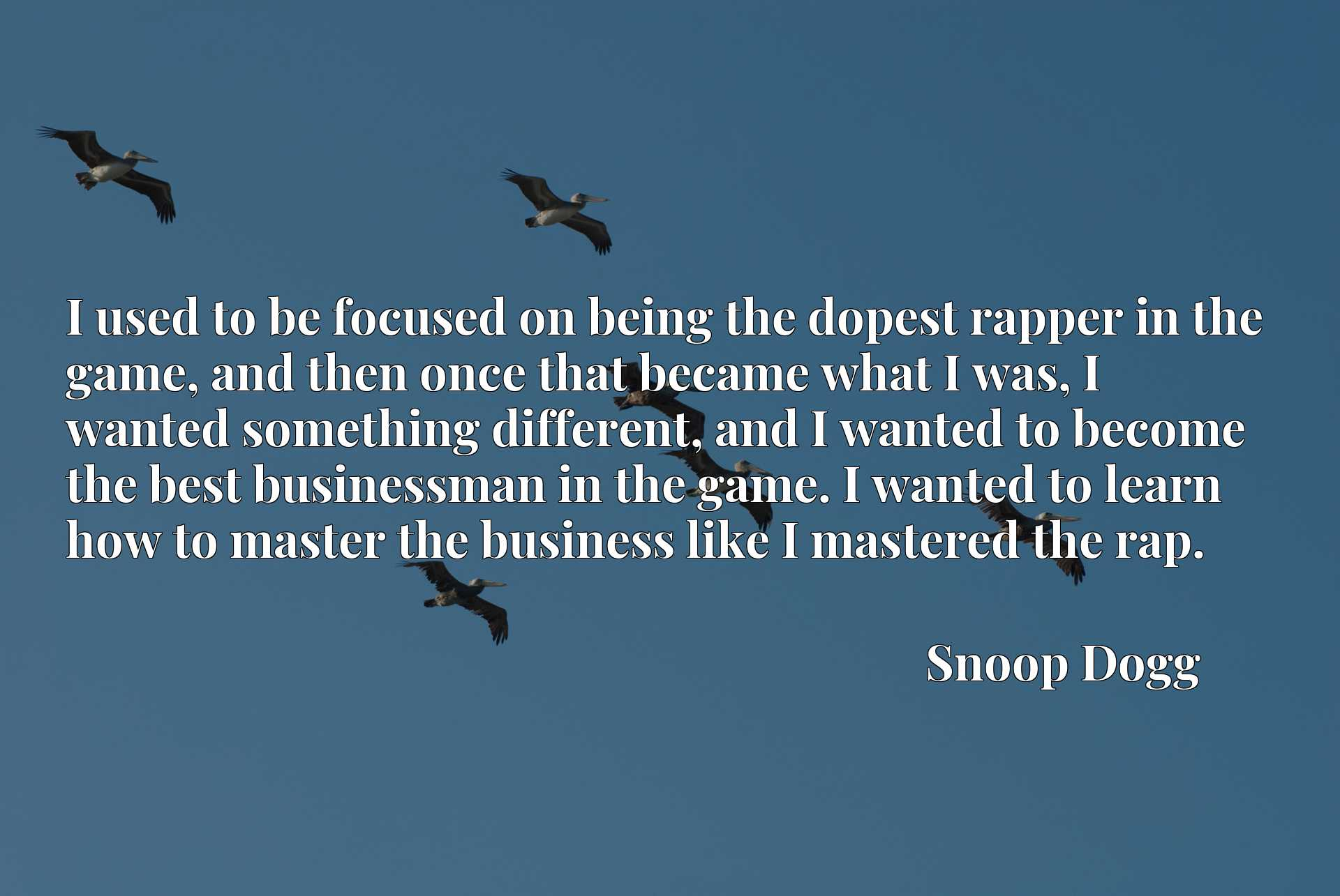 I used to be focused on being the dopest rapper in the game, and then once that became what I was, I wanted something different, and I wanted to become the best businessman in the game. I wanted to learn how to master the business like I mastered the rap.