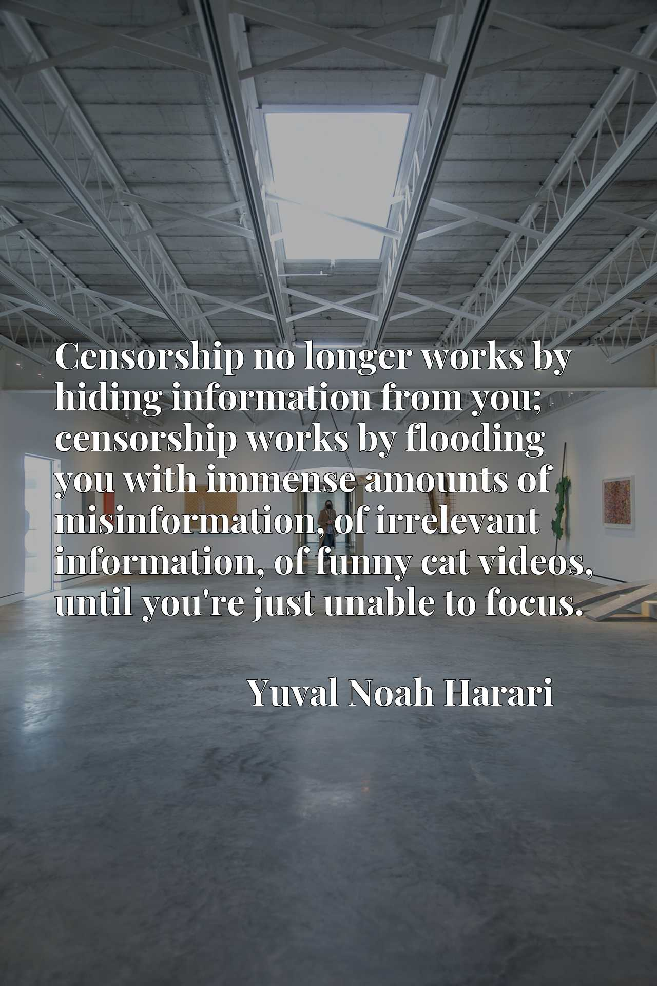 Censorship no longer works by hiding information from you; censorship works by flooding you with immense amounts of misinformation, of irrelevant information, of funny cat videos, until you're just unable to focus.