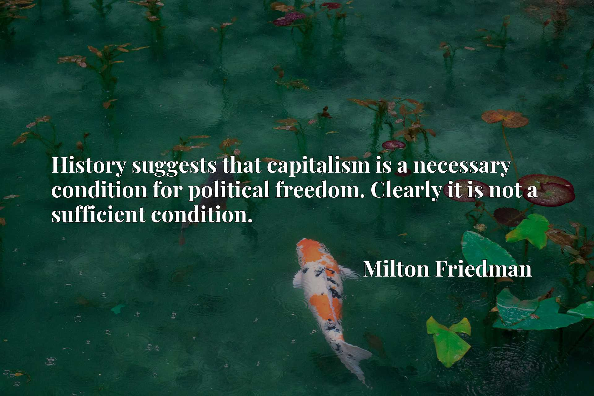 History suggests that capitalism is a necessary condition for political freedom. Clearly it is not a sufficient condition.