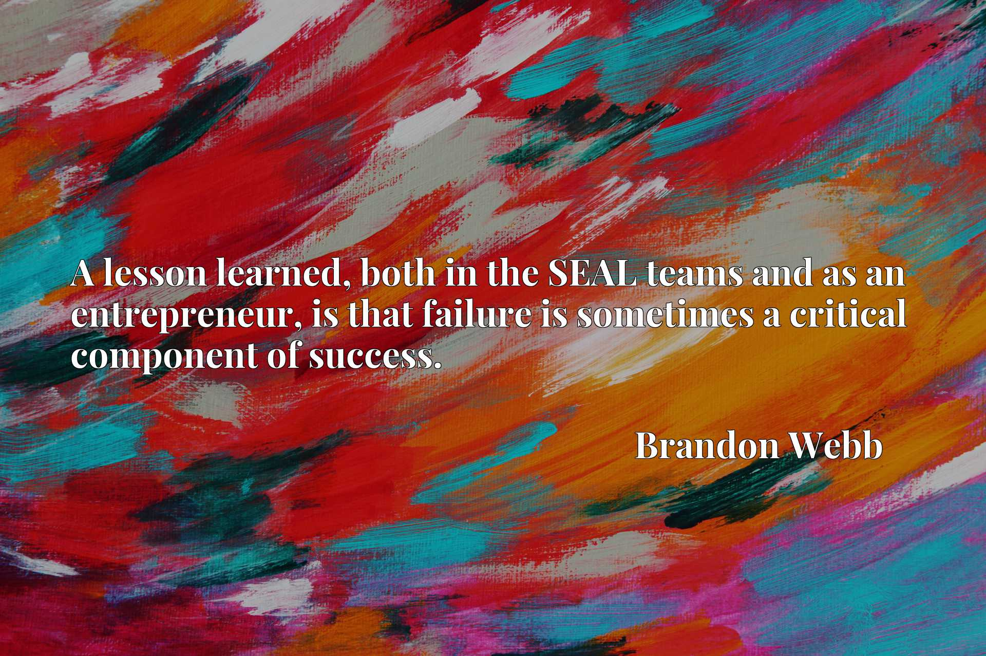A lesson learned, both in the SEAL teams and as an entrepreneur, is that failure is sometimes a critical component of success.