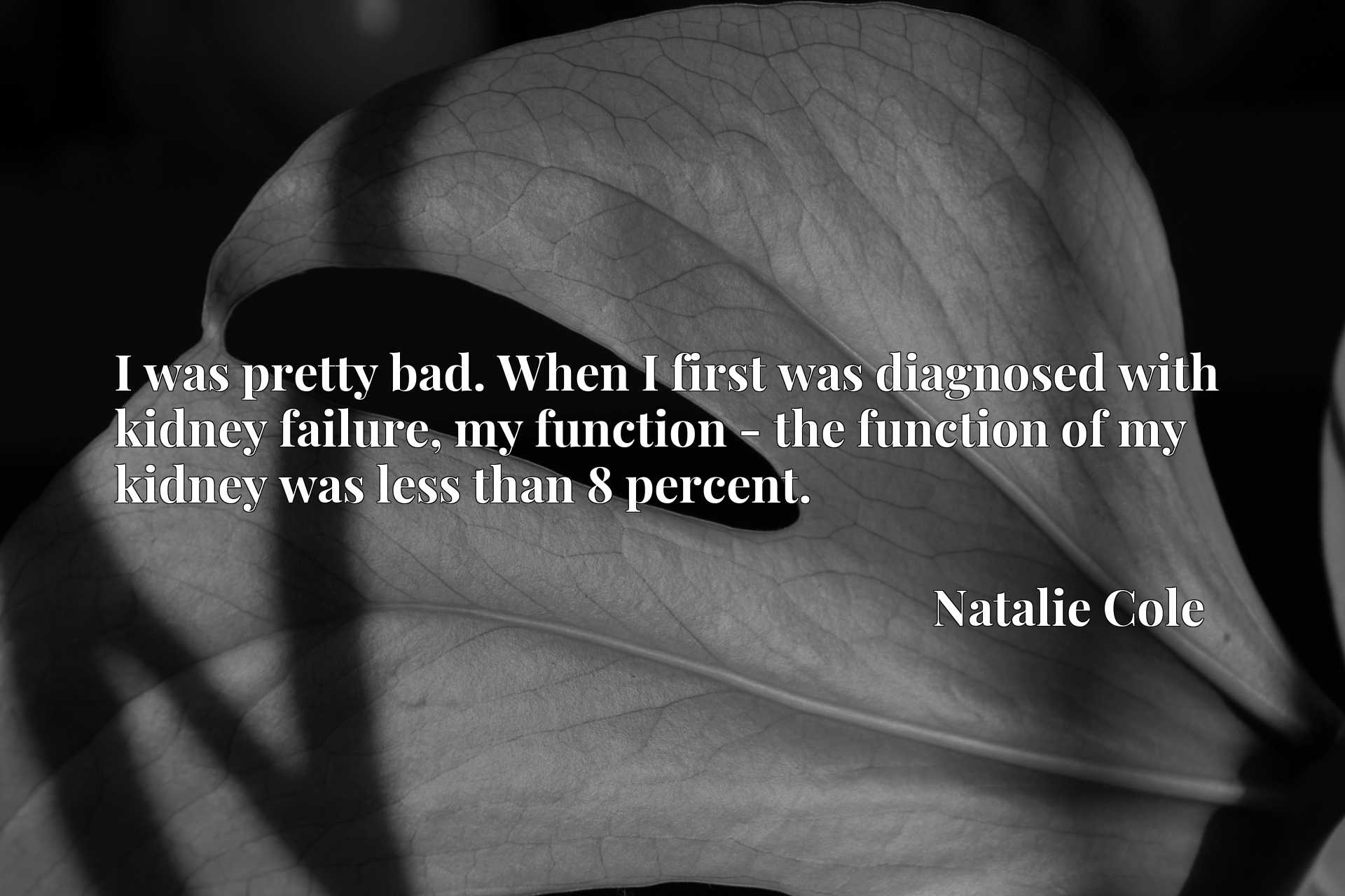 I was pretty bad. When I first was diagnosed with kidney failure, my function - the function of my kidney was less than 8 percent.