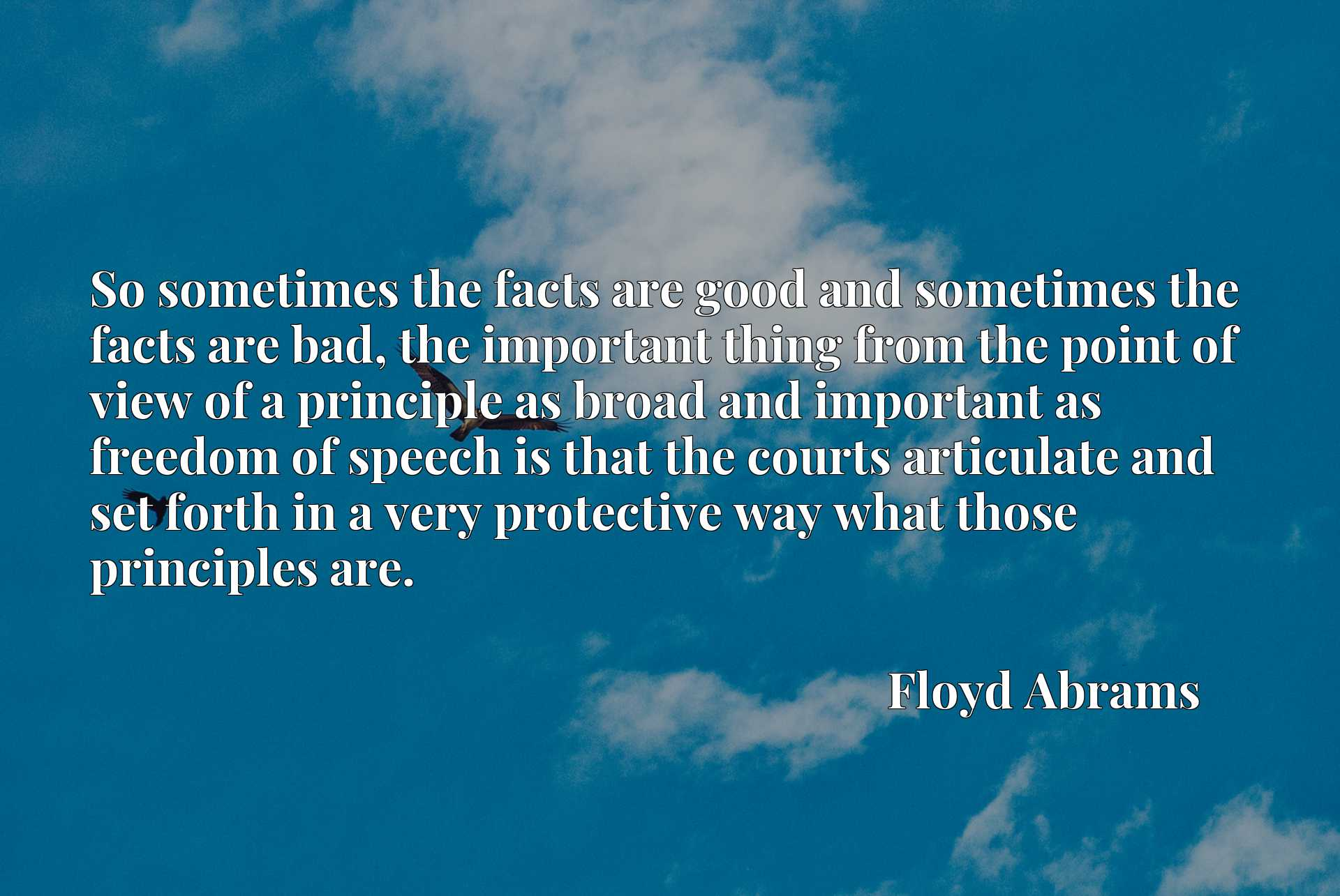 So sometimes the facts are good and sometimes the facts are bad, the important thing from the point of view of a principle as broad and important as freedom of speech is that the courts articulate and set forth in a very protective way what those principles are.