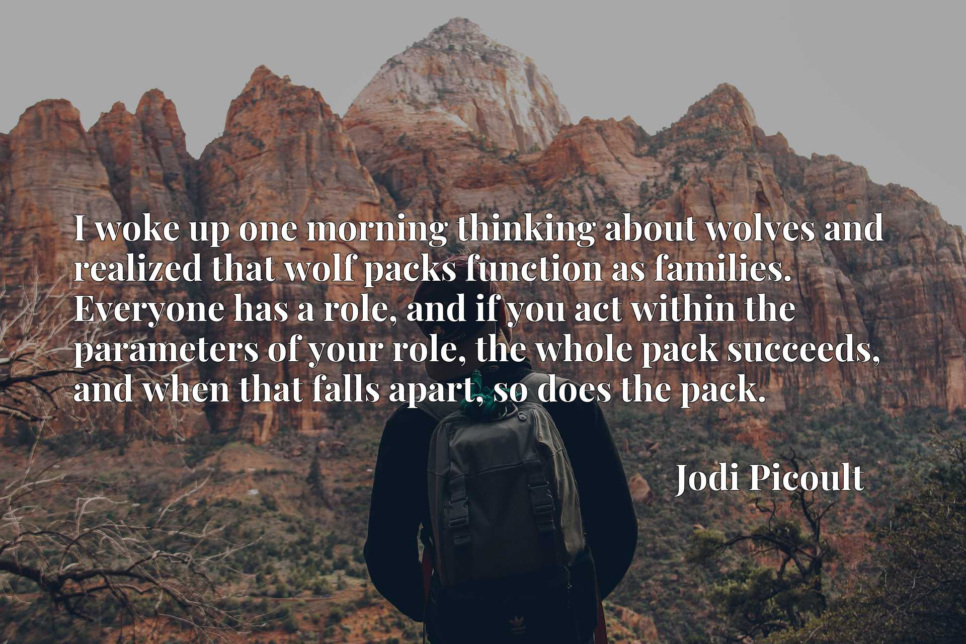 I woke up one morning thinking about wolves and realized that wolf packs function as families. Everyone has a role, and if you act within the parameters of your role, the whole pack succeeds, and when that falls apart, so does the pack.