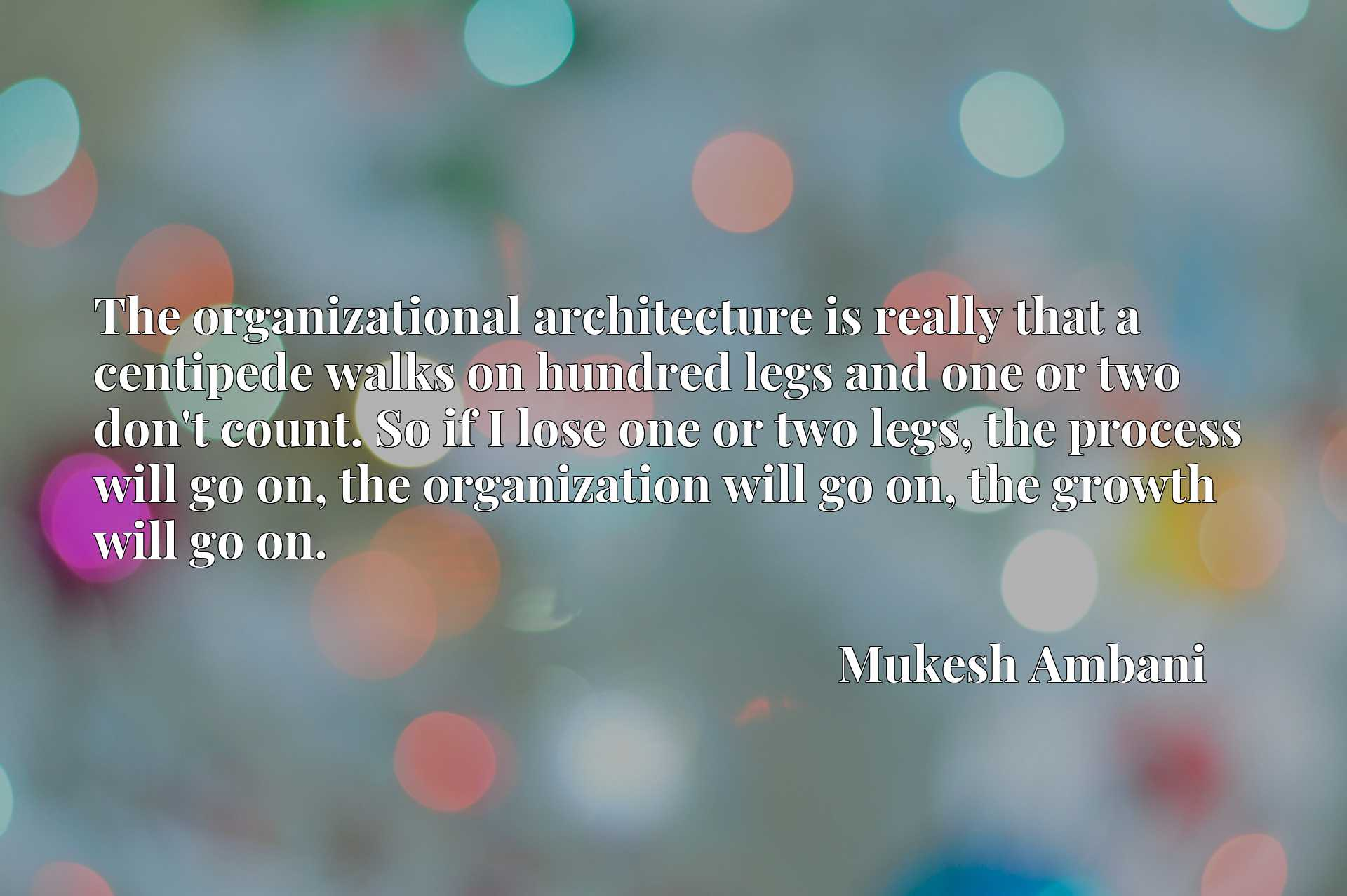 The organizational architecture is really that a centipede walks on hundred legs and one or two don't count. So if I lose one or two legs, the process will go on, the organization will go on, the growth will go on.