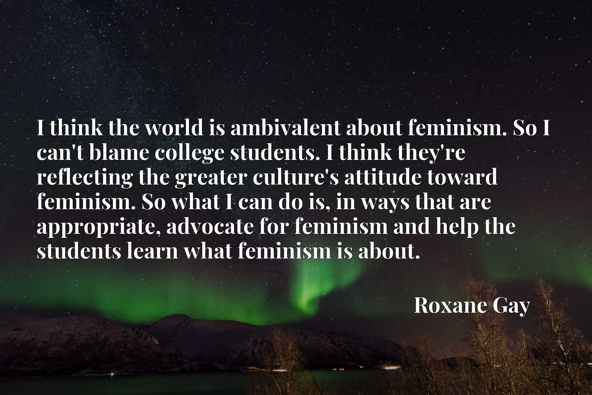I think the world is ambivalent about feminism. So I can't blame college students. I think they're reflecting the greater culture's attitude toward feminism. So what I can do is, in ways that are appropriate, advocate for feminism and help the students learn what feminism is about.