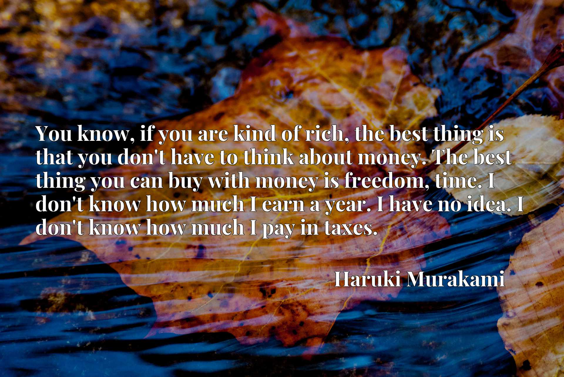 You know, if you are kind of rich, the best thing is that you don't have to think about money. The best thing you can buy with money is freedom, time. I don't know how much I earn a year. I have no idea. I don't know how much I pay in taxes.