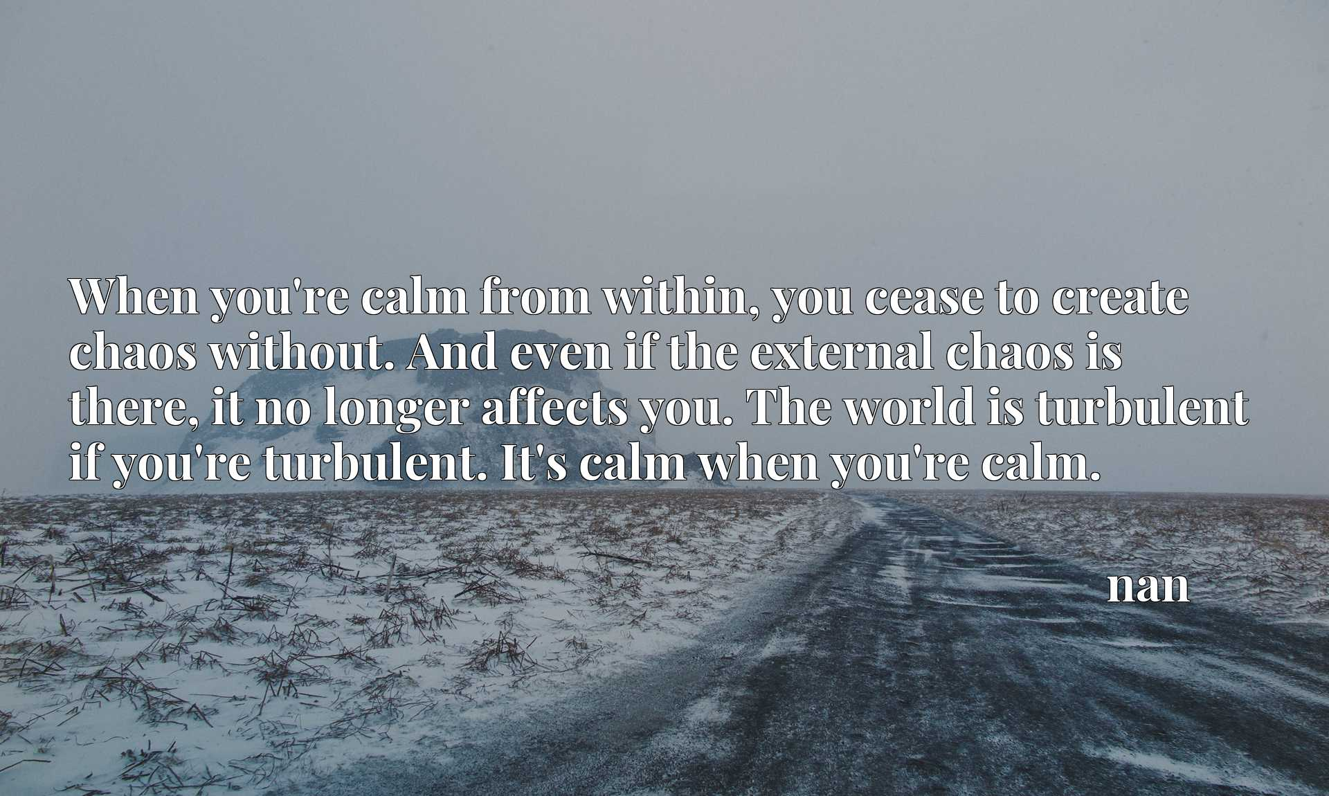 When you're calm from within, you cease to create chaos without. And even if the external chaos is there, it no longer affects you. The world is turbulent if you're turbulent. It's calm when you're calm.