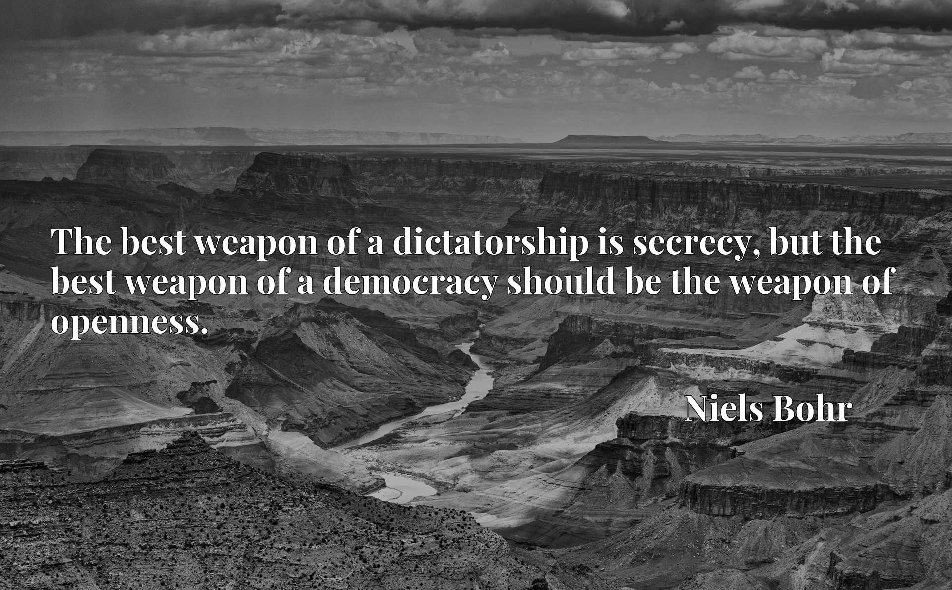 The best weapon of a dictatorship is secrecy, but the best weapon of a democracy should be the weapon of openness.