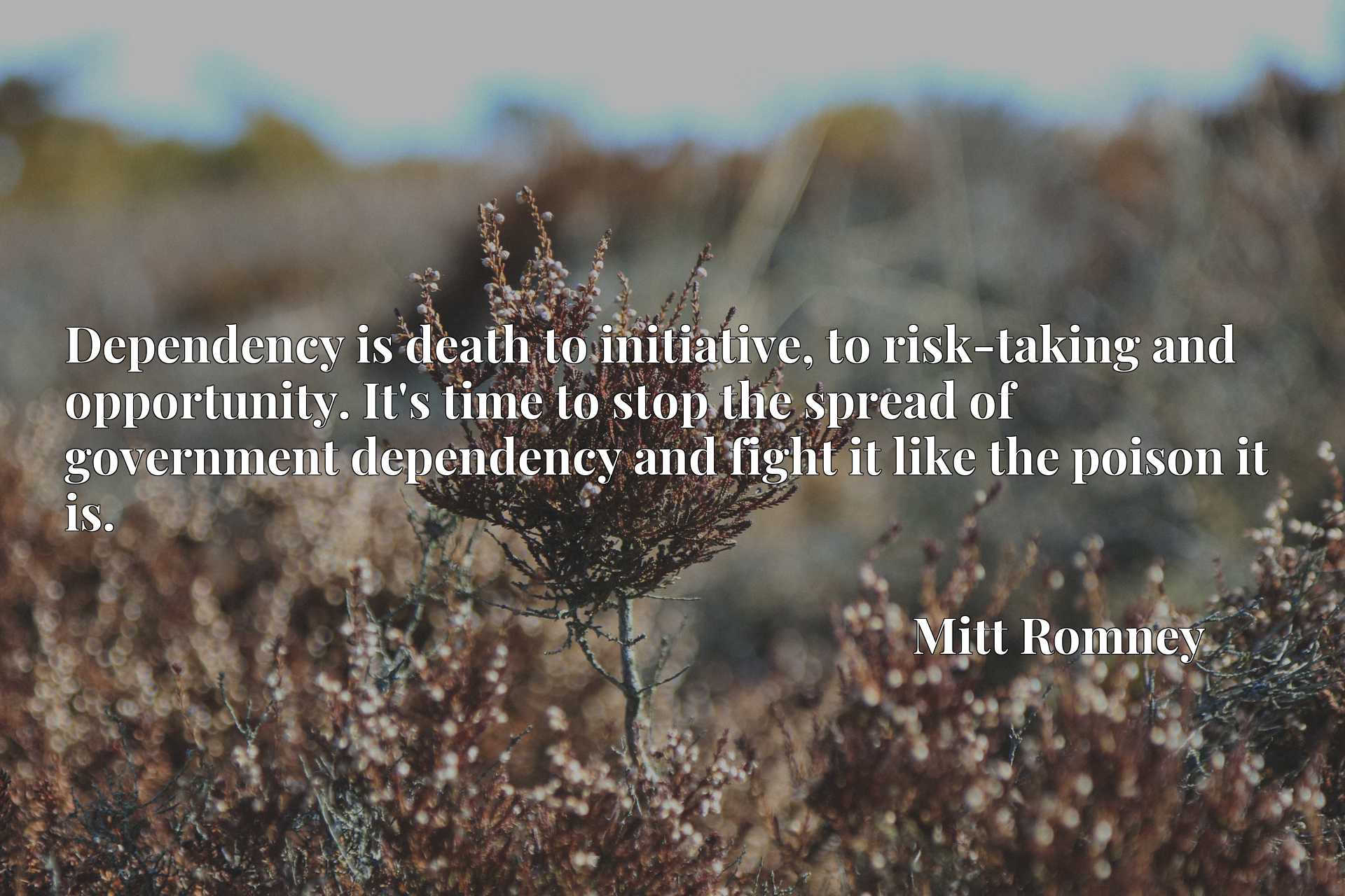 Dependency is death to initiative, to risk-taking and opportunity. It's time to stop the spread of government dependency and fight it like the poison it is.