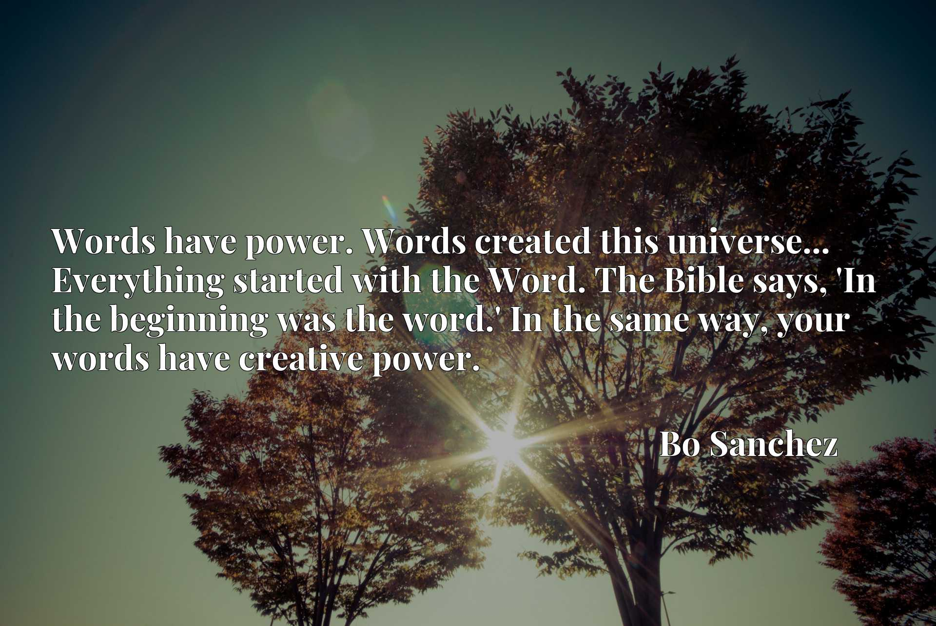Words have power. Words created this universe... Everything started with the Word. The Bible says, 'In the beginning was the word.' In the same way, your words have creative power.