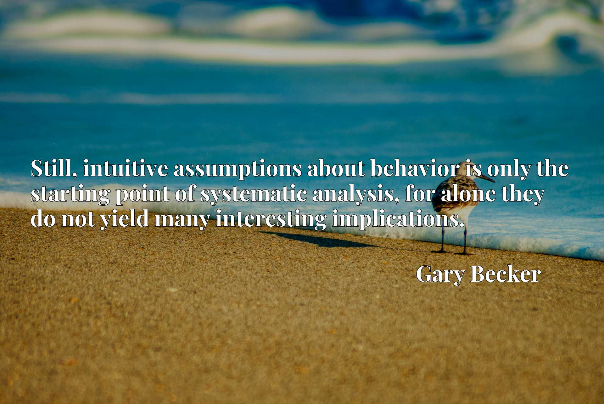 Still, intuitive assumptions about behavior is only the starting point of systematic analysis, for alone they do not yield many interesting implications.