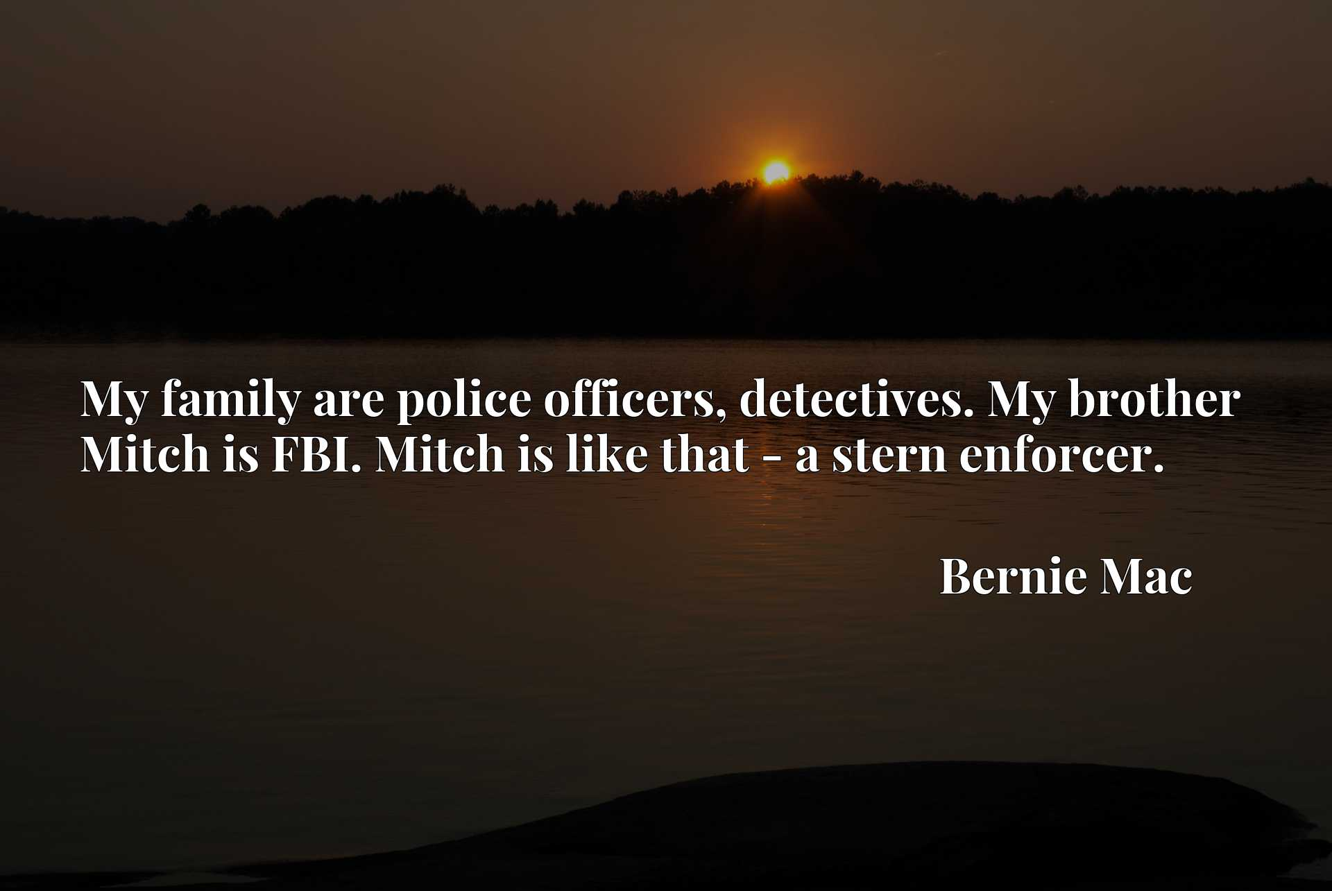 My family are police officers, detectives. My brother Mitch is FBI. Mitch is like that - a stern enforcer.