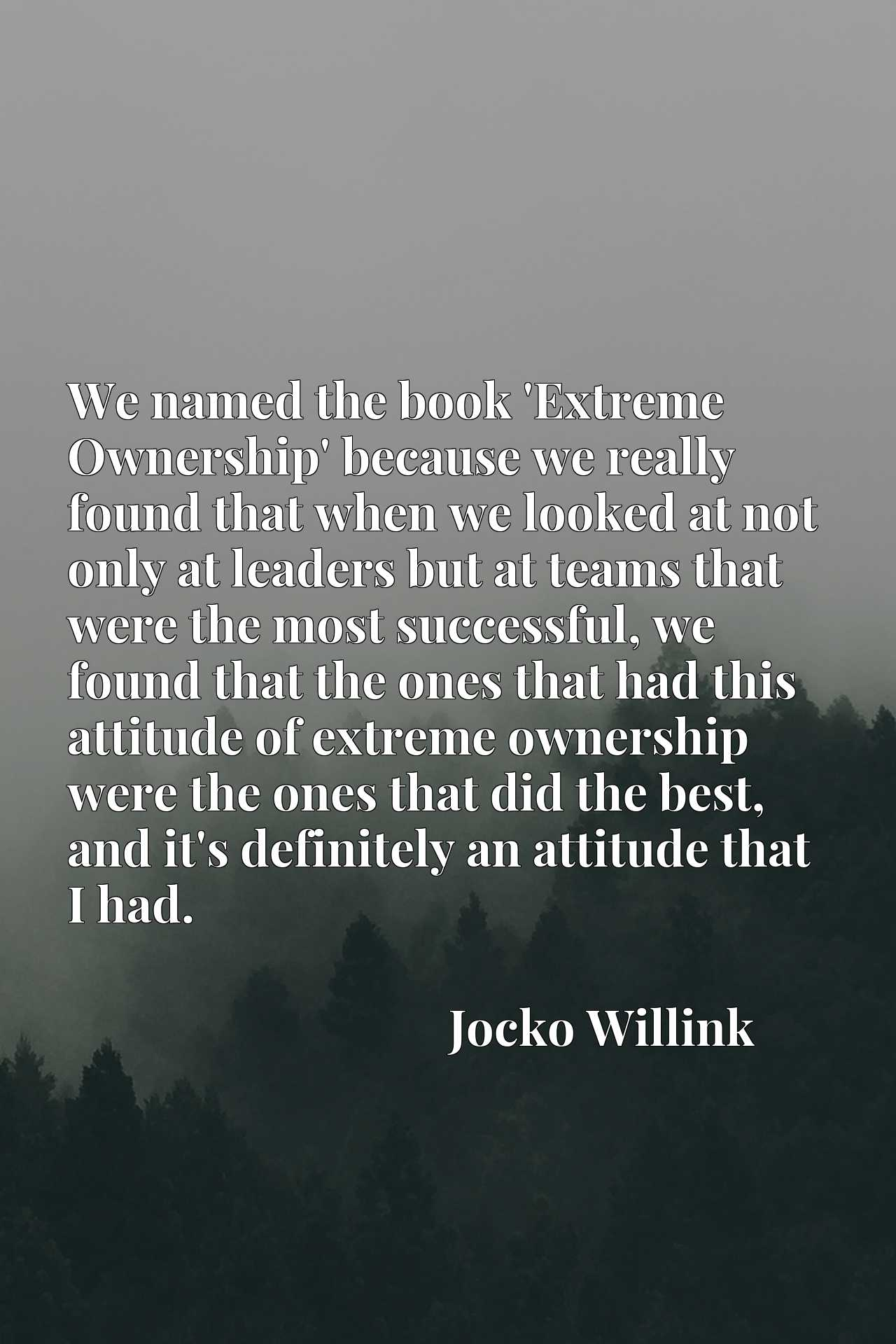 We named the book 'Extreme Ownership' because we really found that when we looked at not only at leaders but at teams that were the most successful, we found that the ones that had this attitude of extreme ownership were the ones that did the best, and it's definitely an attitude that I had.
