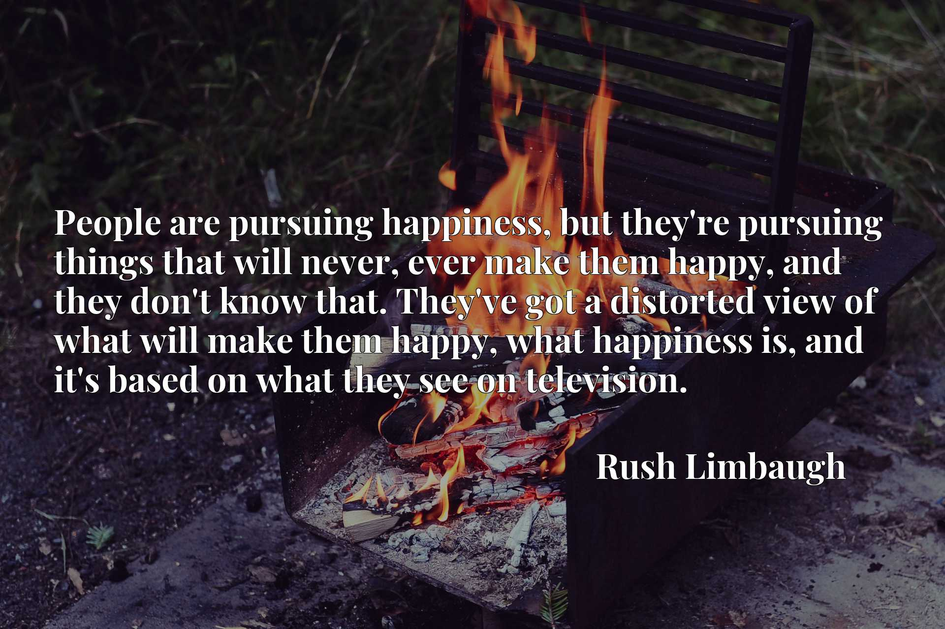 People are pursuing happiness, but they're pursuing things that will never, ever make them happy, and they don't know that. They've got a distorted view of what will make them happy, what happiness is, and it's based on what they see on television.