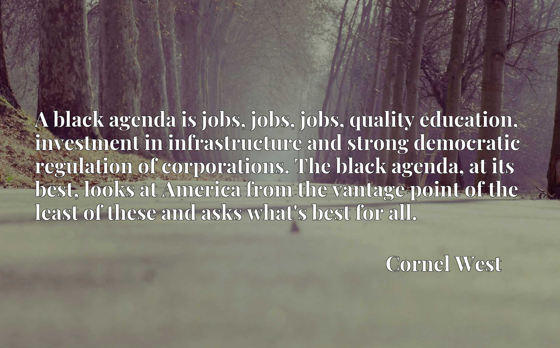 A black agenda is jobs, jobs, jobs, quality education, investment in infrastructure and strong democratic regulation of corporations. The black agenda, at its best, looks at America from the vantage point of the least of these and asks what's best for all.
