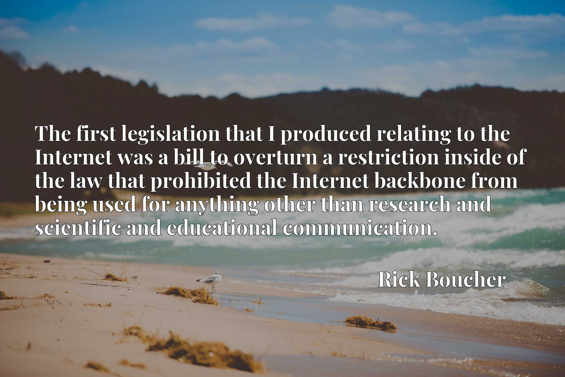 The first legislation that I produced relating to the Internet was a bill to overturn a restriction inside of the law that prohibited the Internet backbone from being used for anything other than research and scientific and educational communication.