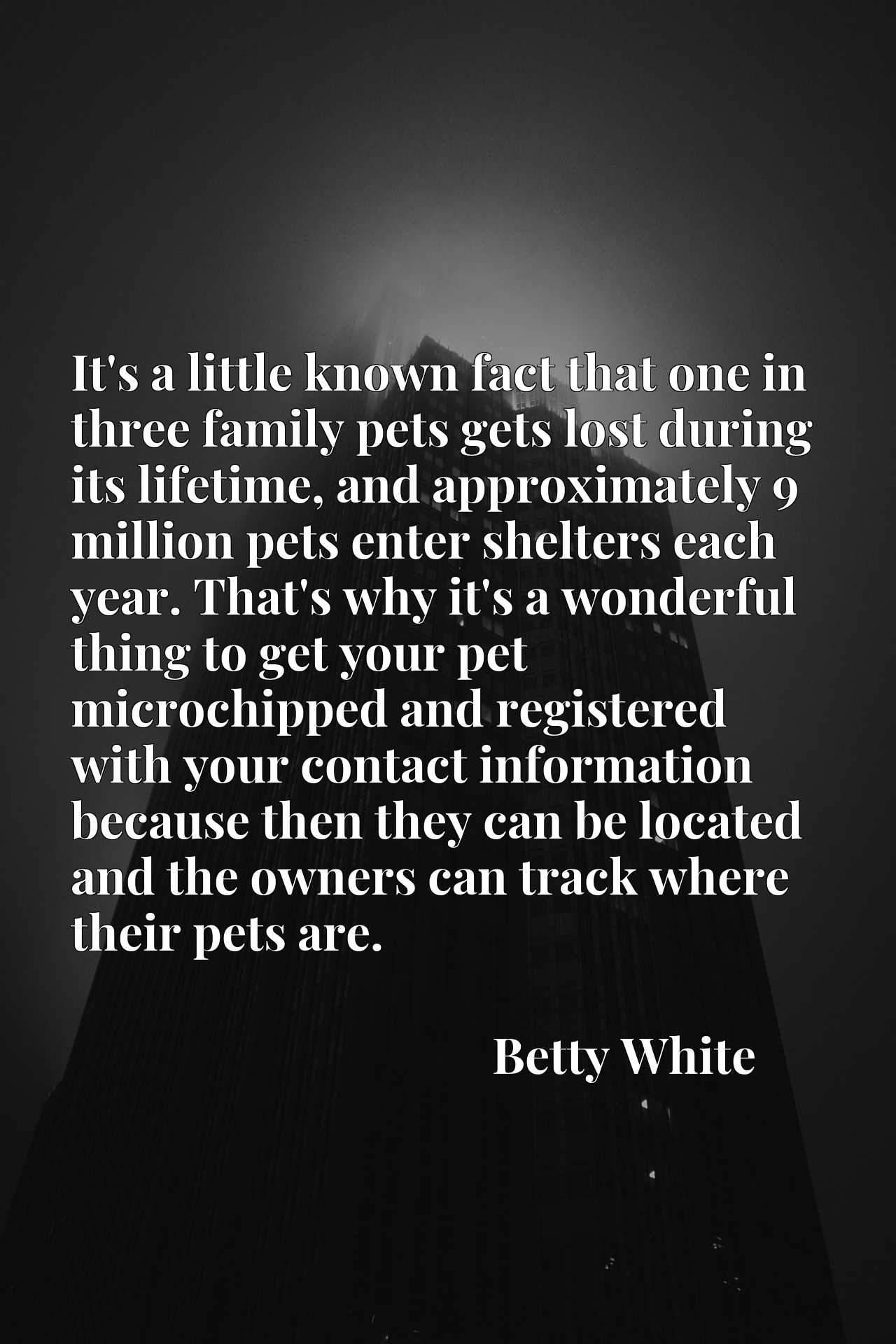It's a little known fact that one in three family pets gets lost during its lifetime, and approximately 9 million pets enter shelters each year. That's why it's a wonderful thing to get your pet microchipped and registered with your contact information because then they can be located and the owners can track where their pets are.