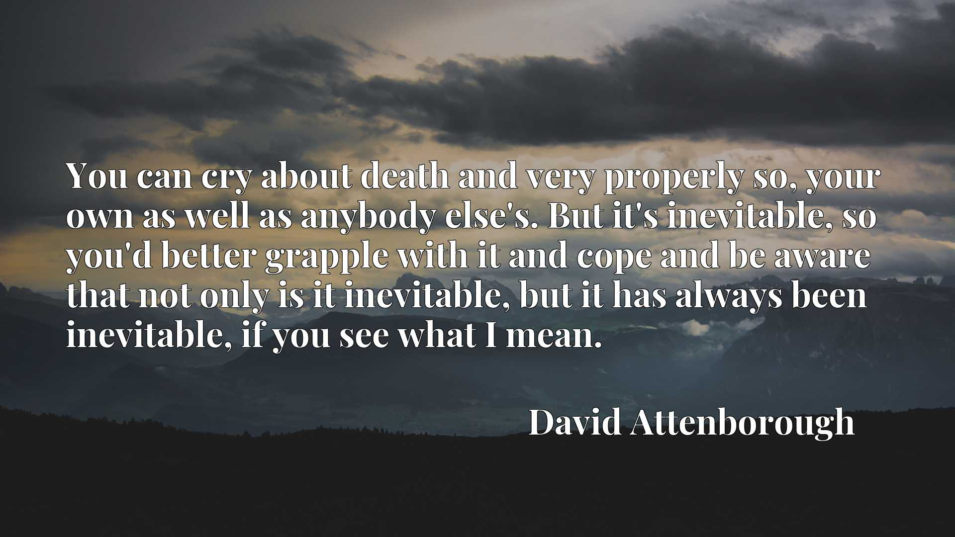You can cry about death and very properly so, your own as well as anybody else's. But it's inevitable, so you'd better grapple with it and cope and be aware that not only is it inevitable, but it has always been inevitable, if you see what I mean.