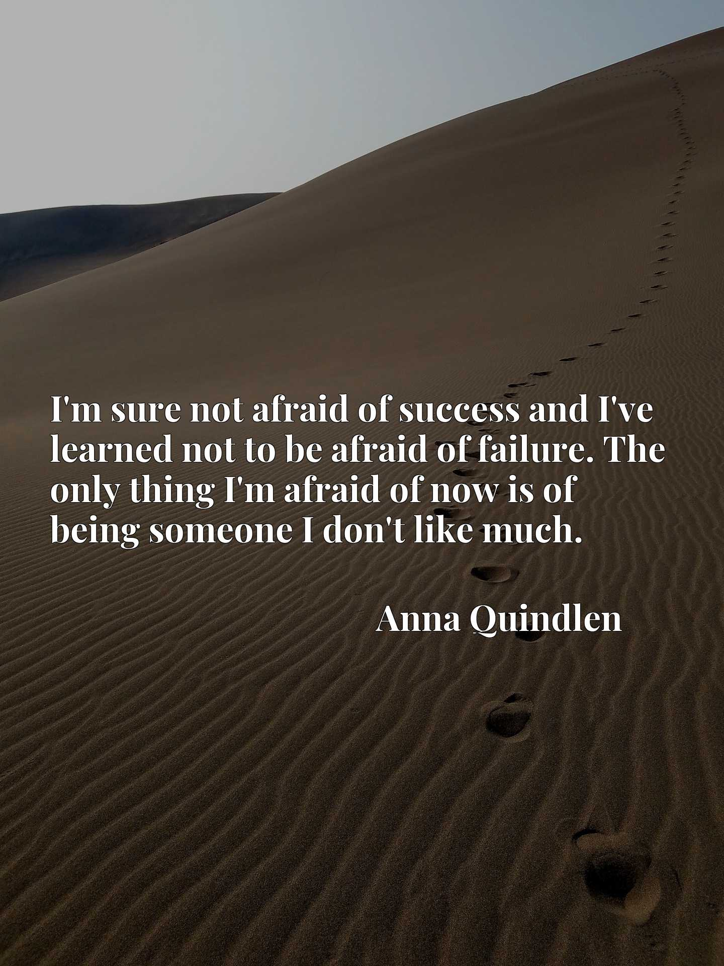 I'm sure not afraid of success and I've learned not to be afraid of failure. The only thing I'm afraid of now is of being someone I don't like much.