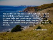 We need to have intimate, enduring bonds; we need to be able to confide; we need to feel that we belong; we need to be able to get support, and just as important for happiness, to give support. We need many kinds of relationships; for one thing, we need friends.