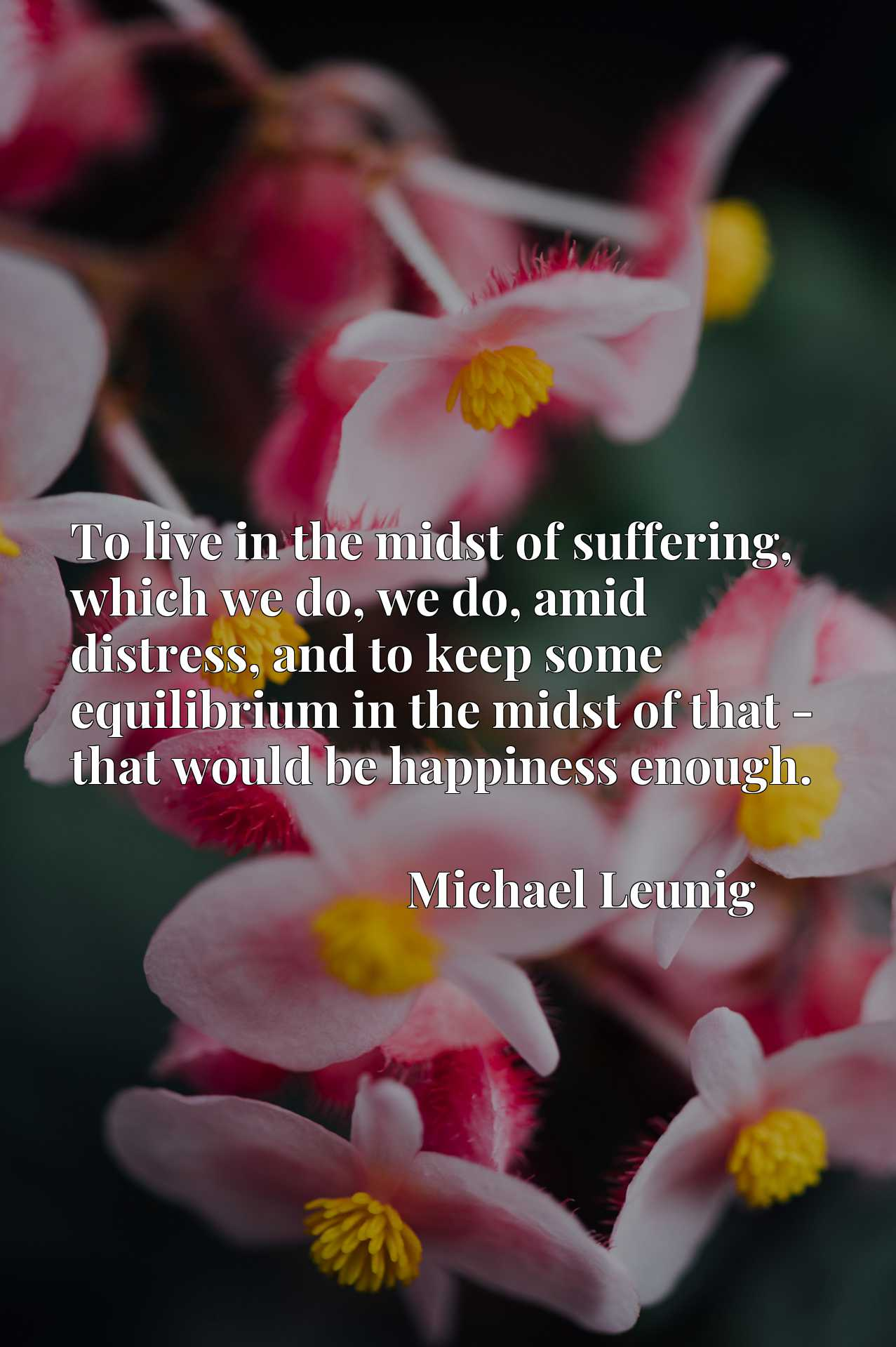 To live in the midst of suffering, which we do, we do, amid distress, and to keep some equilibrium in the midst of that - that would be happiness enough.