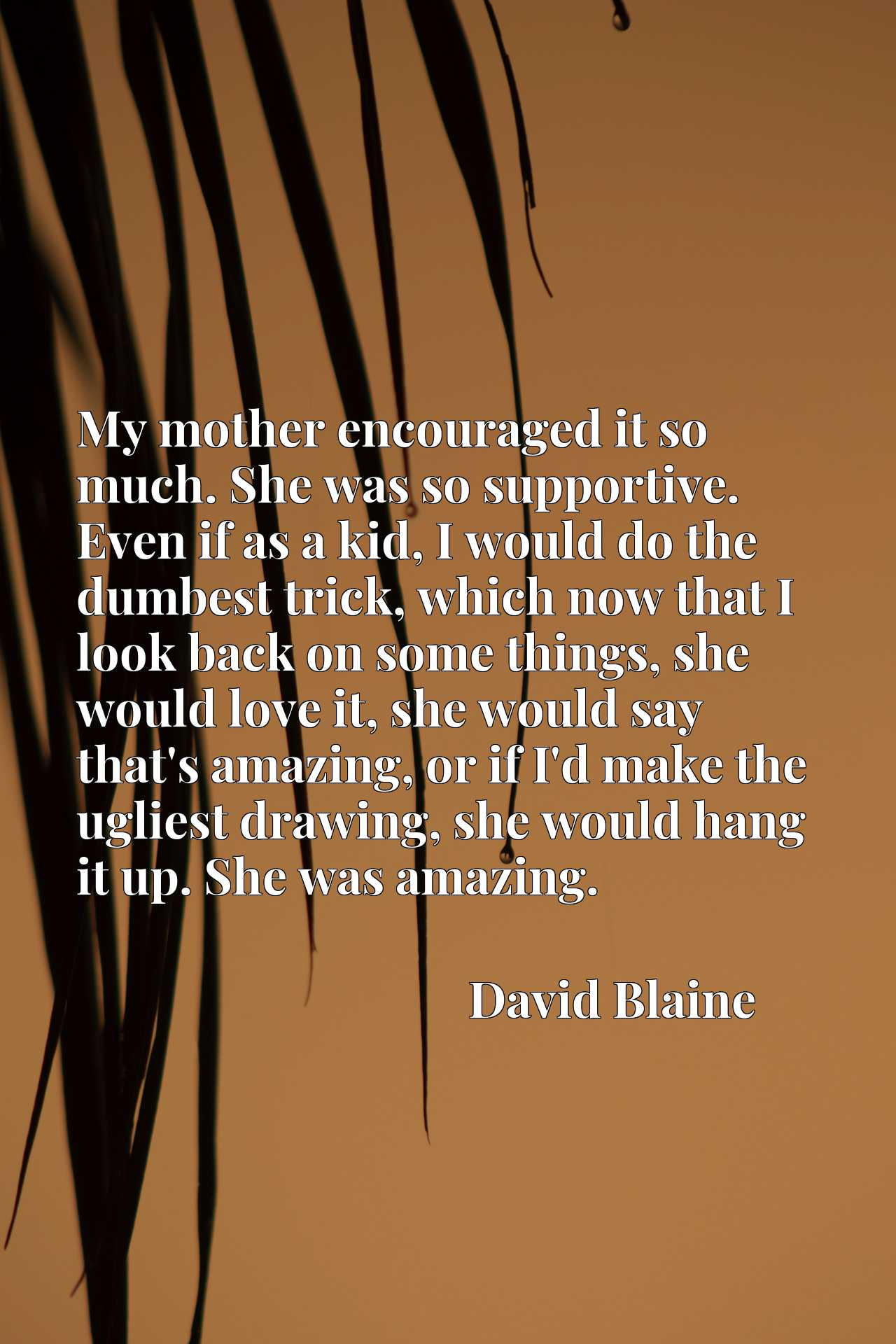 My mother encouraged it so much. She was so supportive. Even if as a kid, I would do the dumbest trick, which now that I look back on some things, she would love it, she would say that's amazing, or if I'd make the ugliest drawing, she would hang it up. She was amazing.
