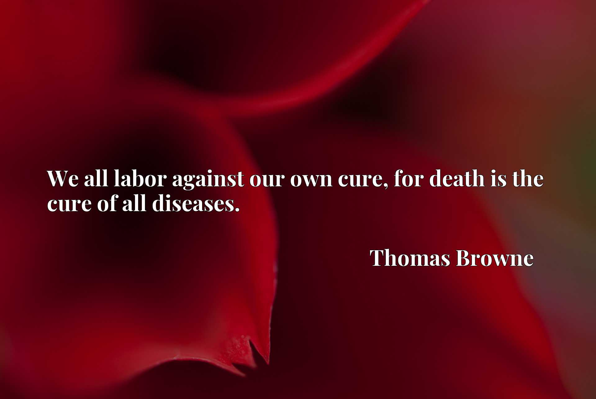 We all labor against our own cure, for death is the cure of all diseases.