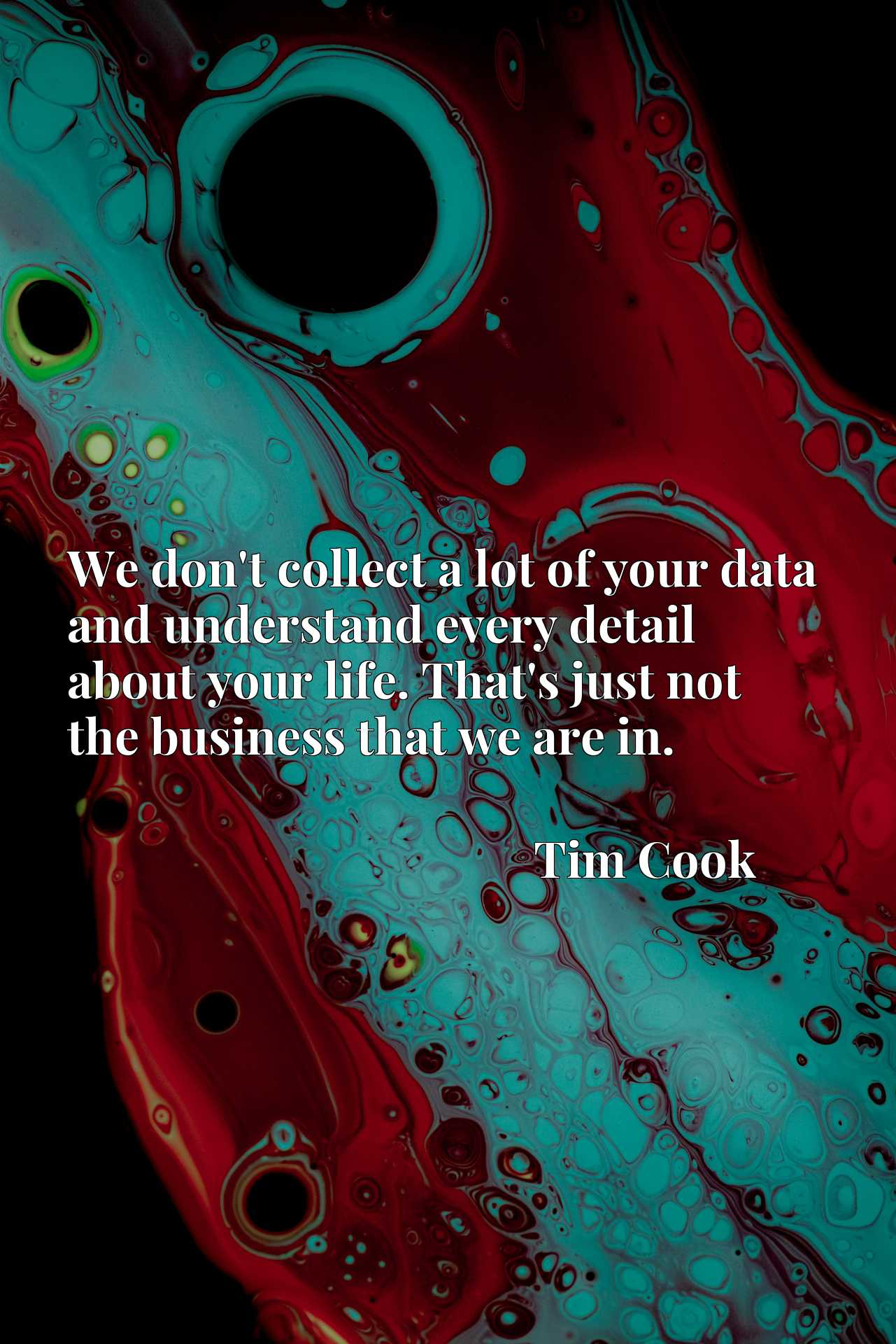 We don't collect a lot of your data and understand every detail about your life. That's just not the business that we are in.