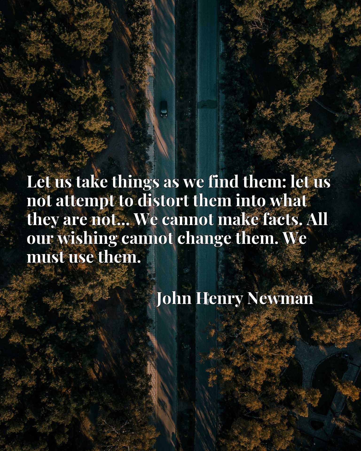 Let us take things as we find them: let us not attempt to distort them into what they are not... We cannot make facts. All our wishing cannot change them. We must use them.