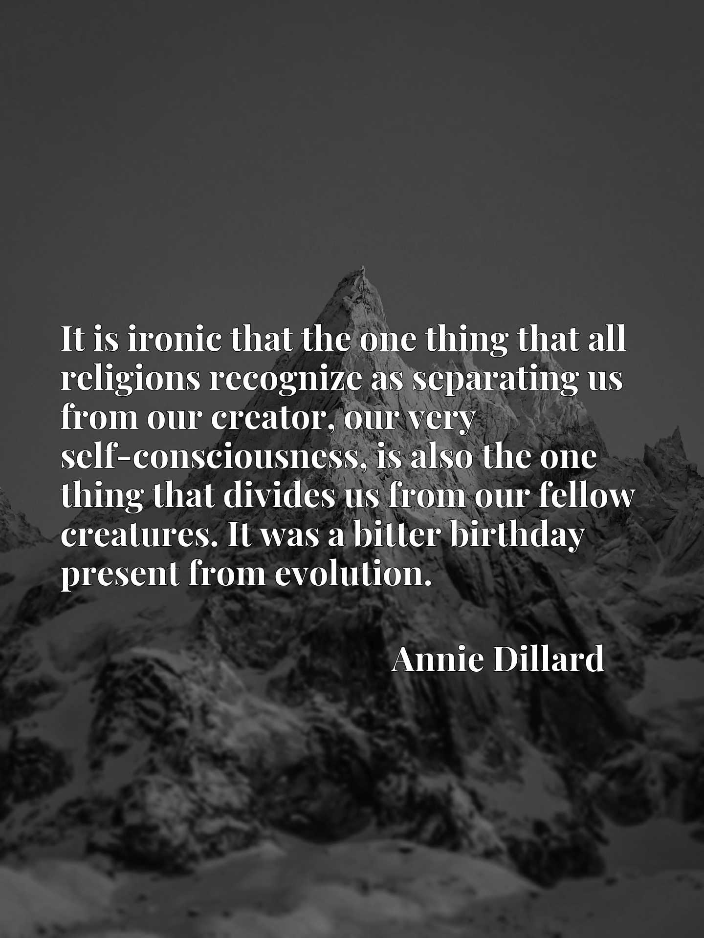 It is ironic that the one thing that all religions recognize as separating us from our creator, our very self-consciousness, is also the one thing that divides us from our fellow creatures. It was a bitter birthday present from evolution.