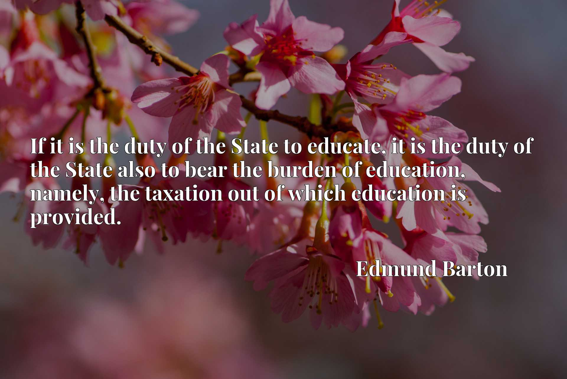 If it is the duty of the State to educate, it is the duty of the State also to bear the burden of education, namely, the taxation out of which education is provided.