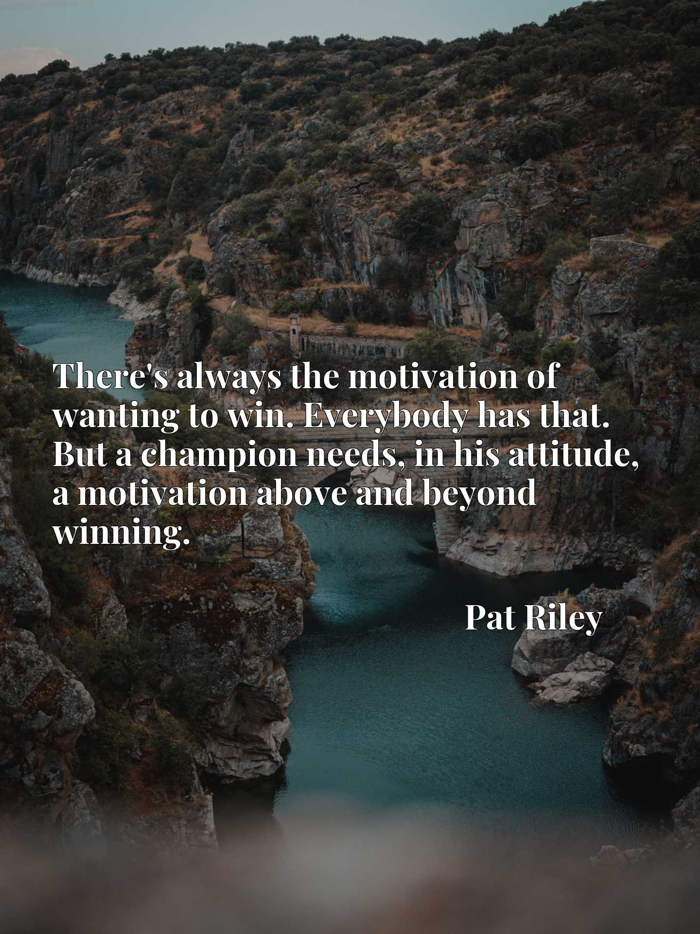 There's always the motivation of wanting to win. Everybody has that. But a champion needs, in his attitude, a motivation above and beyond winning.