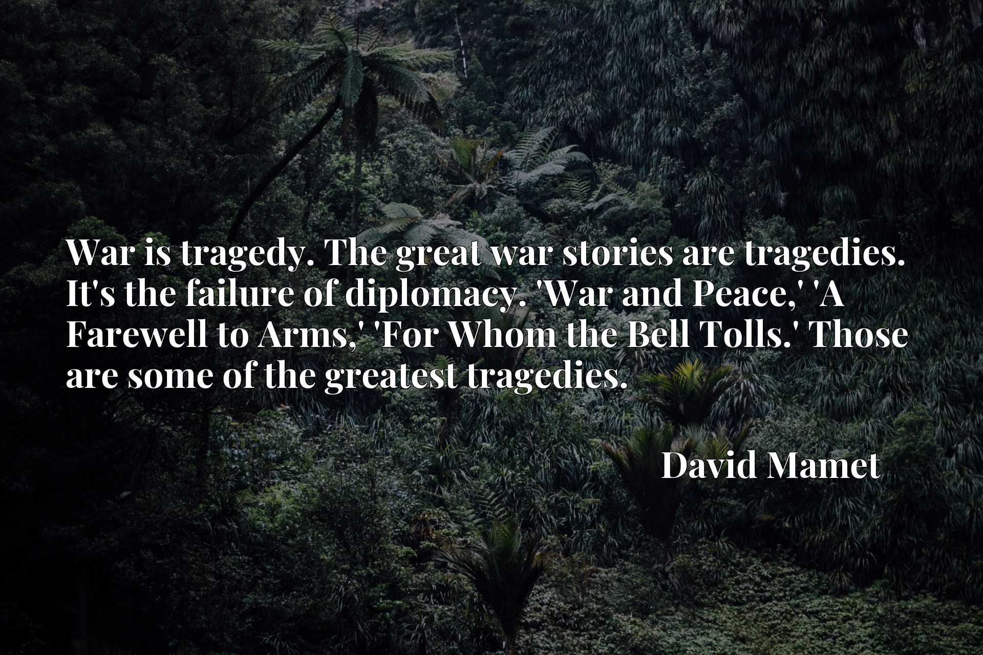 War is tragedy. The great war stories are tragedies. It's the failure of diplomacy. 'War and Peace,' 'A Farewell to Arms,' 'For Whom the Bell Tolls.' Those are some of the greatest tragedies.