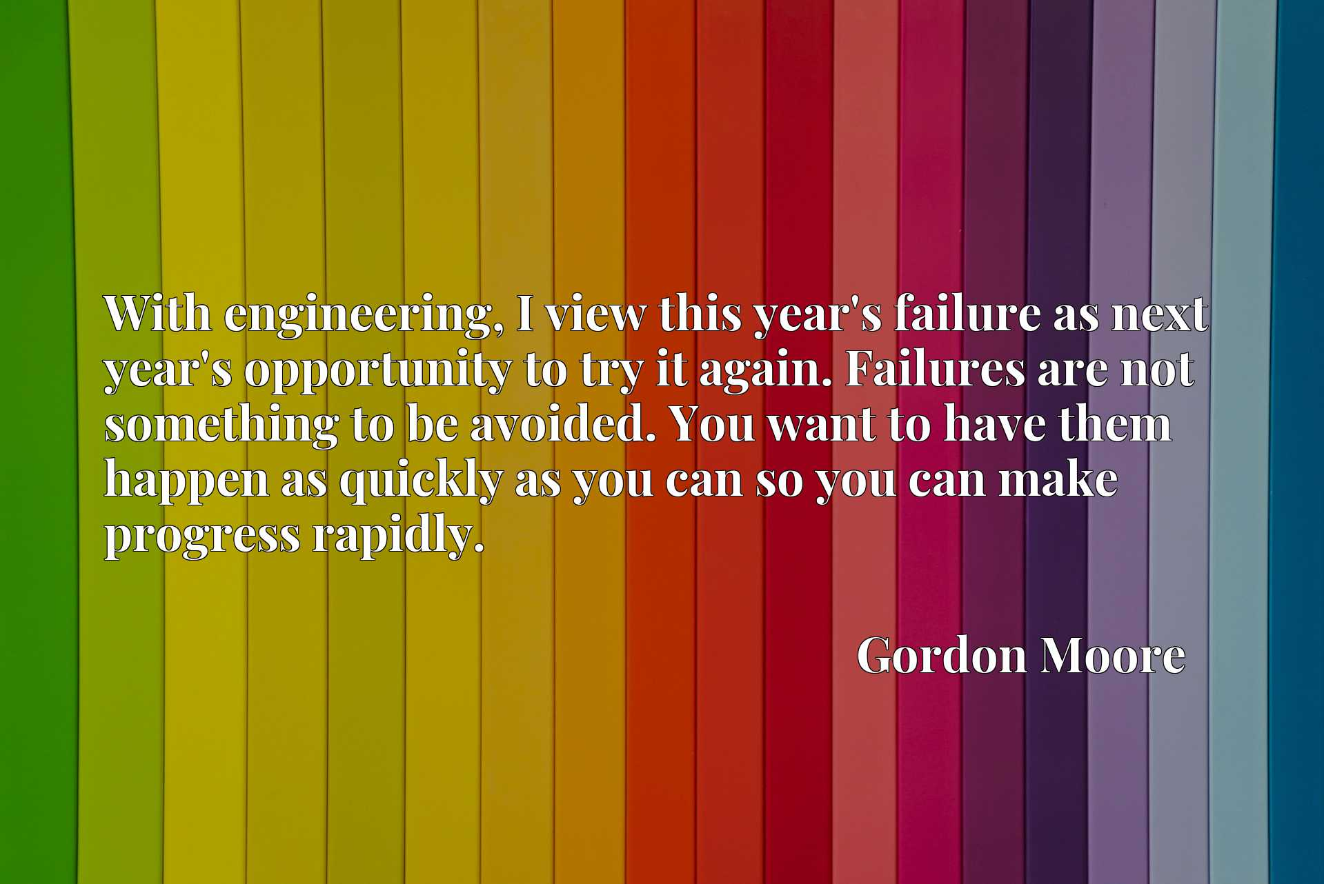 With engineering, I view this year's failure as next year's opportunity to try it again. Failures are not something to be avoided. You want to have them happen as quickly as you can so you can make progress rapidly.